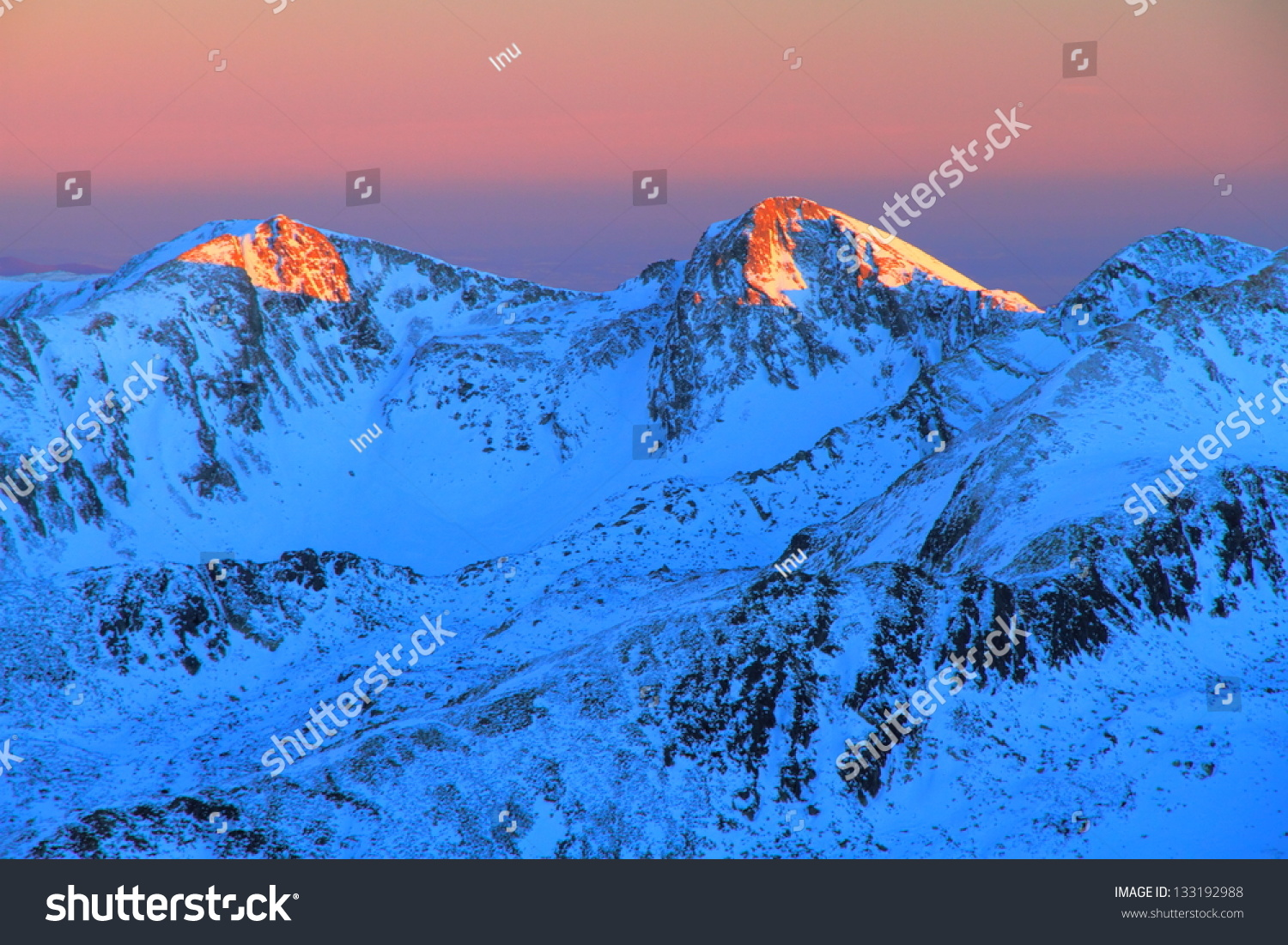 Sunset Over The Snowy Mountains, Romania Stock Photo ... Sunset Over Snowy Mountains