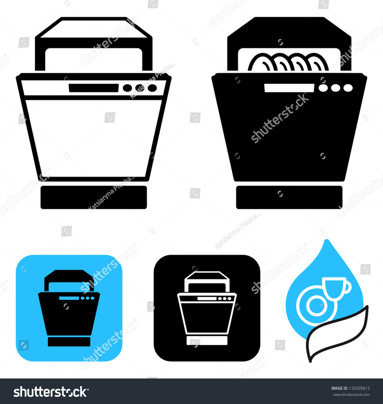 Dishwasher Clip Art ~ Simple icons dishwasher stock vector shutterstock