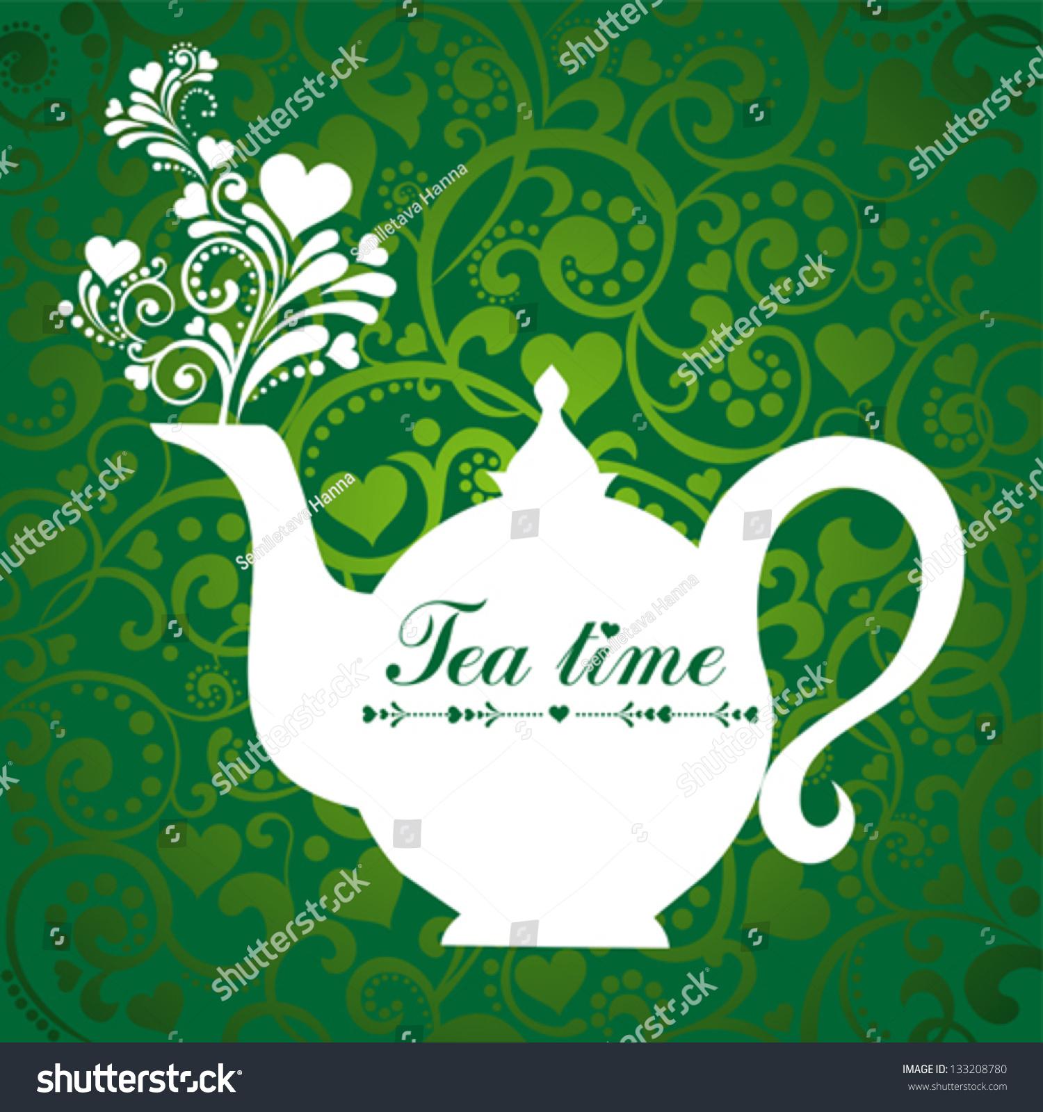 cute tea time card menu restaurant stock vector 133208780