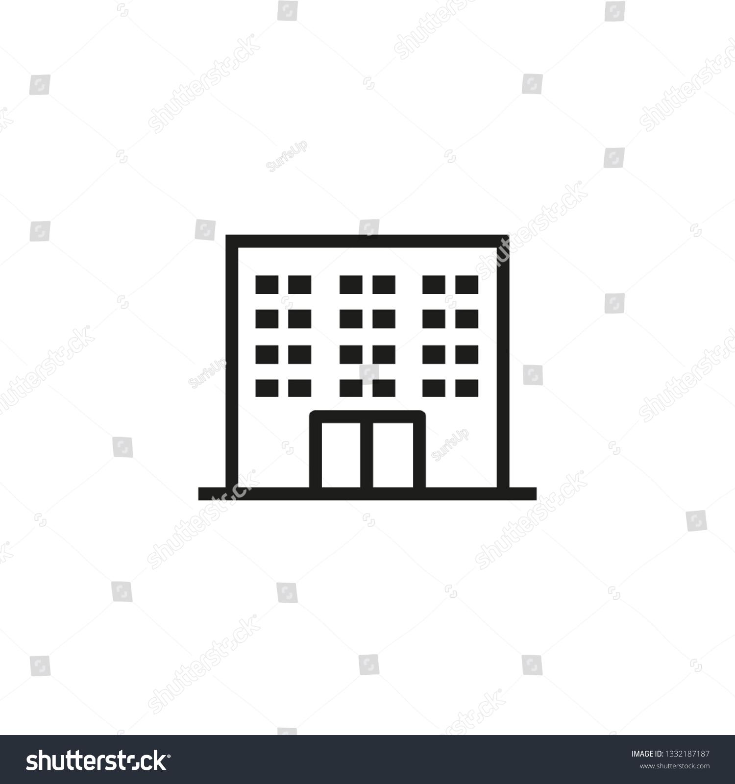 Dormitory Line Icon School Hostel Hotel Stock Vector (Royalty Free