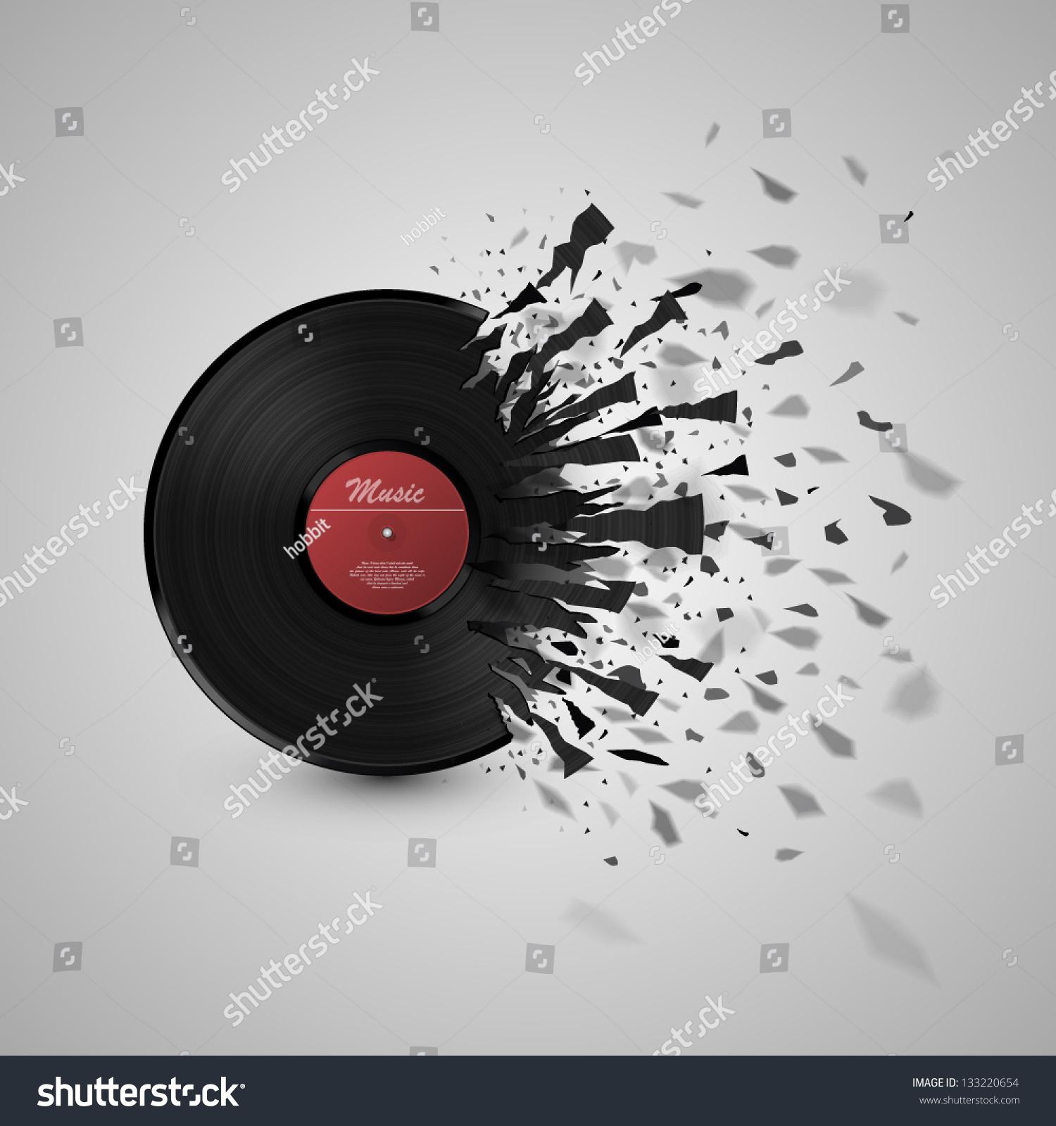 Burst Music Sign Vinyl Disk Explosion Hot Music Vector