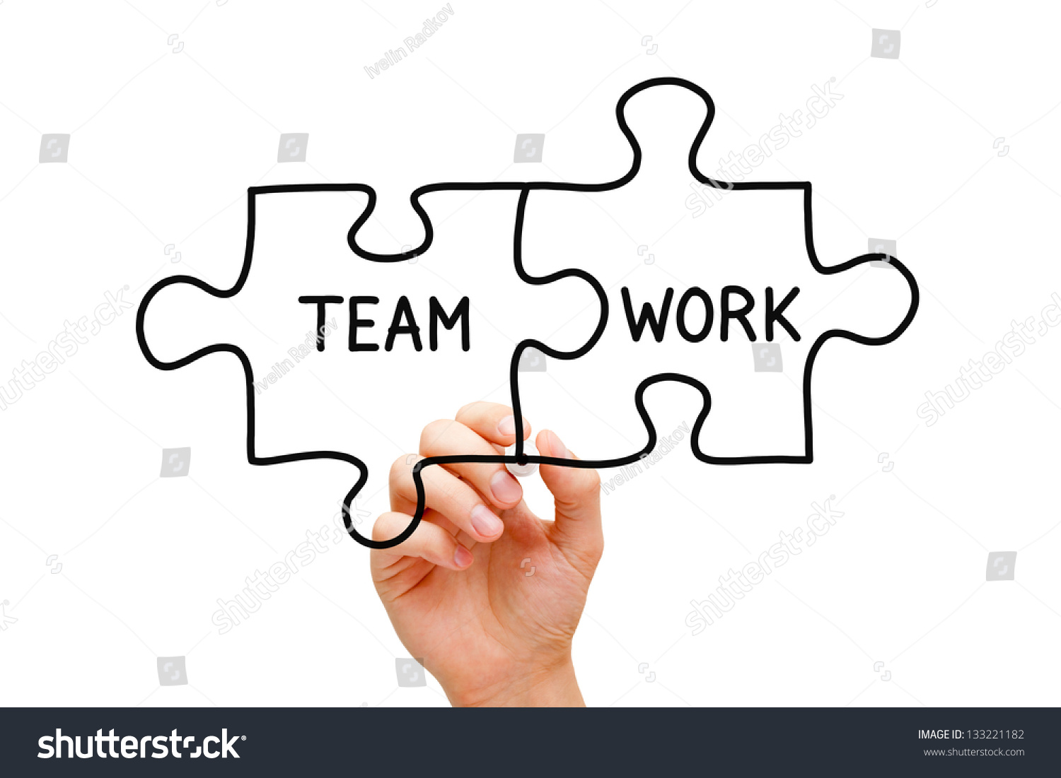 hand sketching teamwork jigsaw puzzle pieces stock photo  hand sketching teamwork jigsaw puzzle pieces concept black marker on transparent glass board