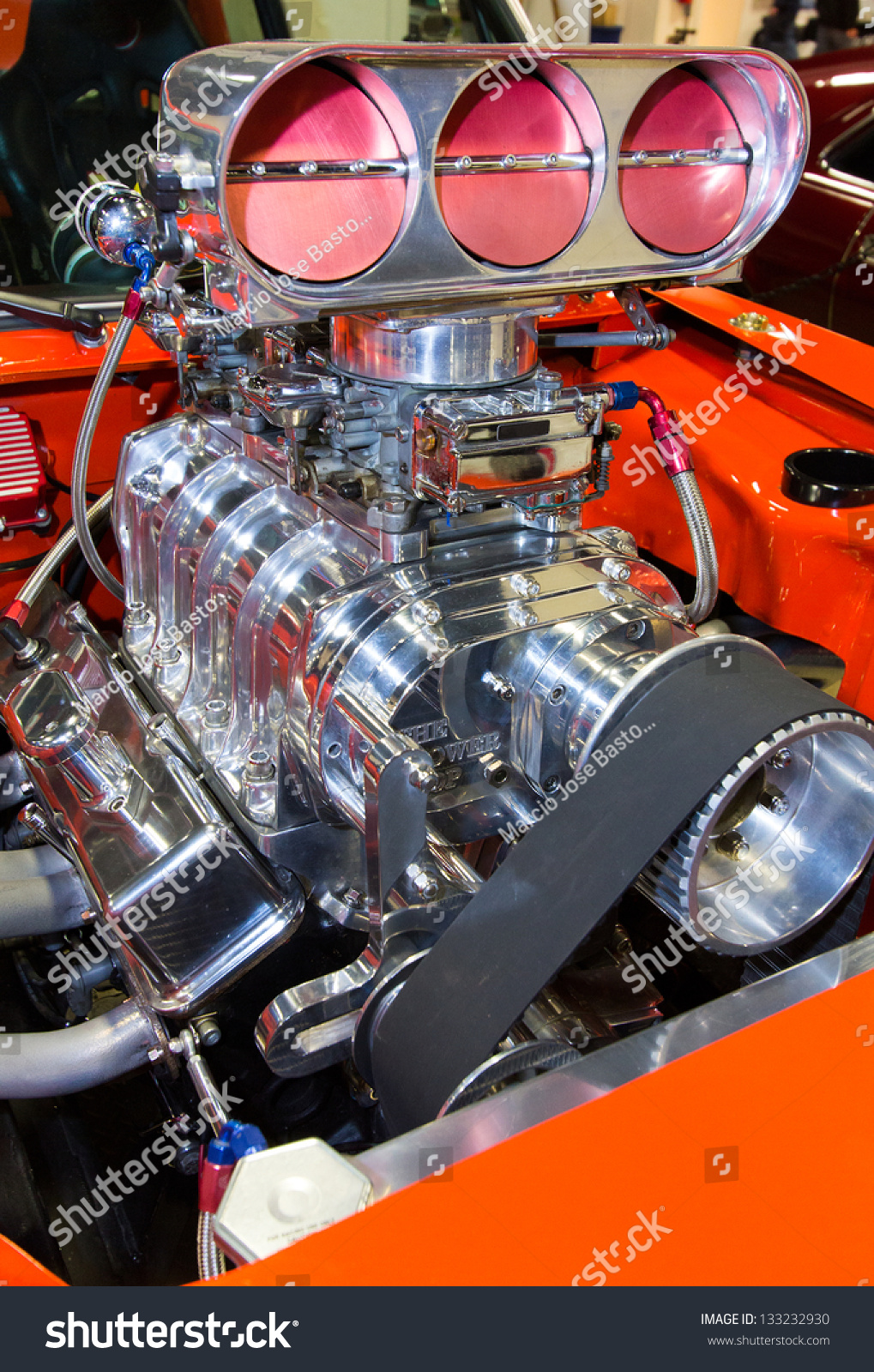 Closeup Shot American Muscle Cars Engine Stock Photo (Royalty Free ...