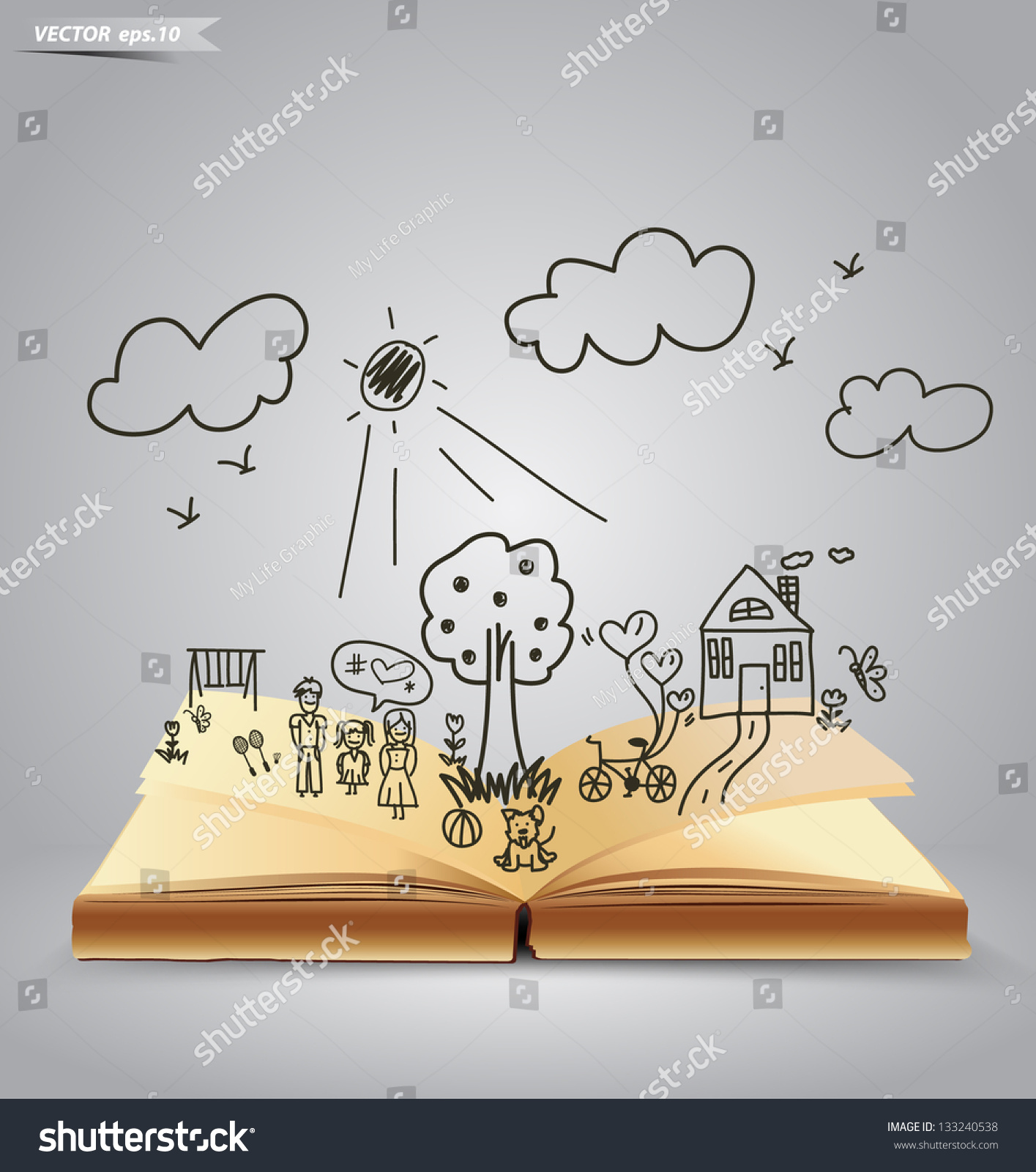 open book happy family stories vector stock vector