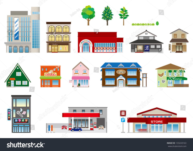 Building Shop Business Stock Vector 133243163