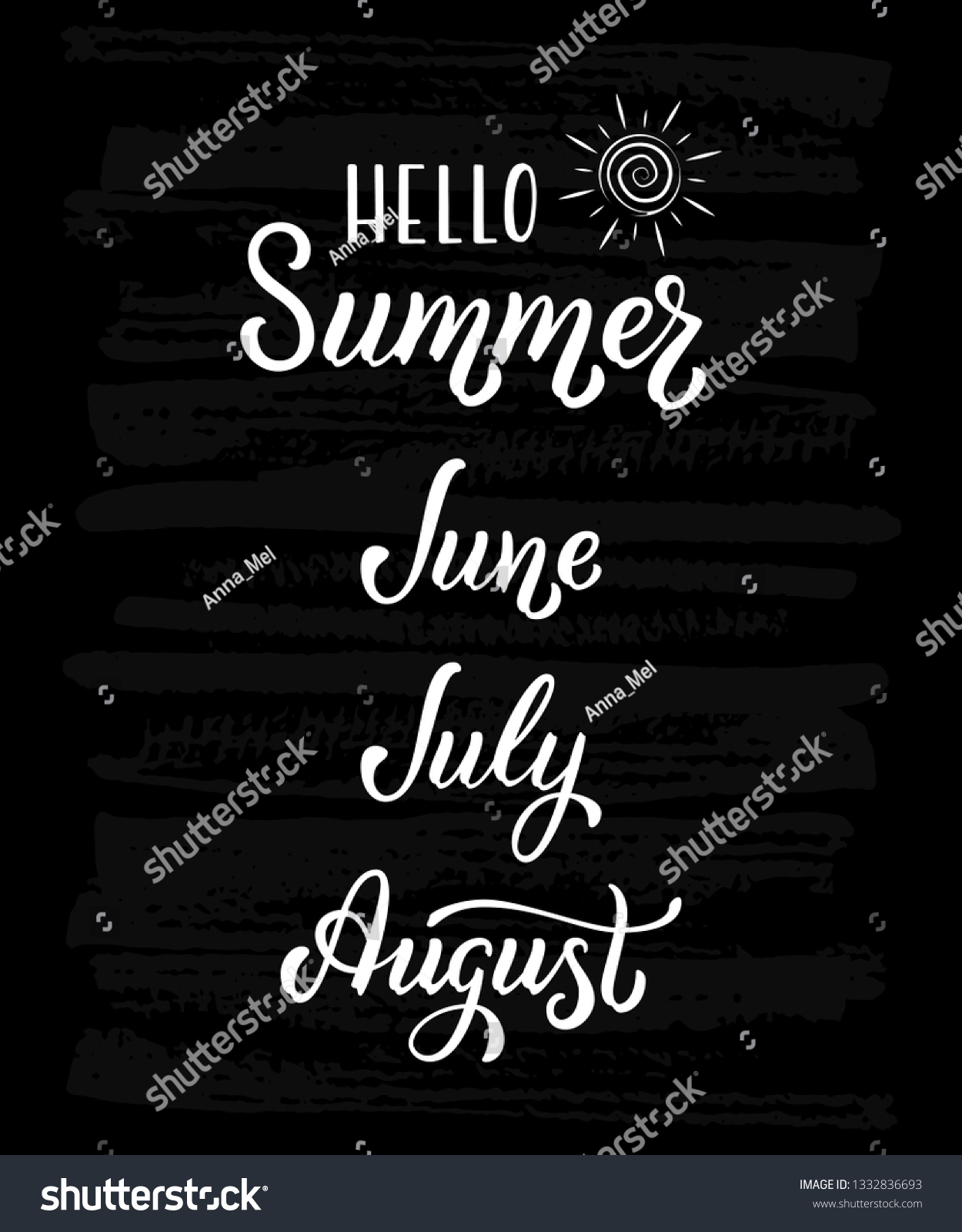 Lettering Summer Months June July August Stock Vector
