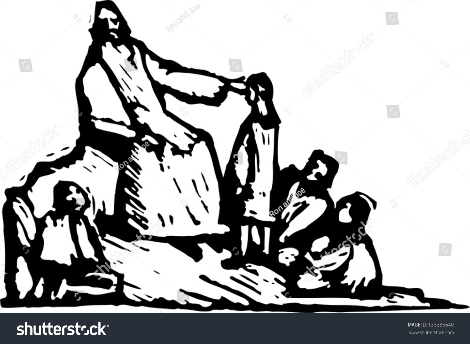 black white vector illustration jesus telling stock vector