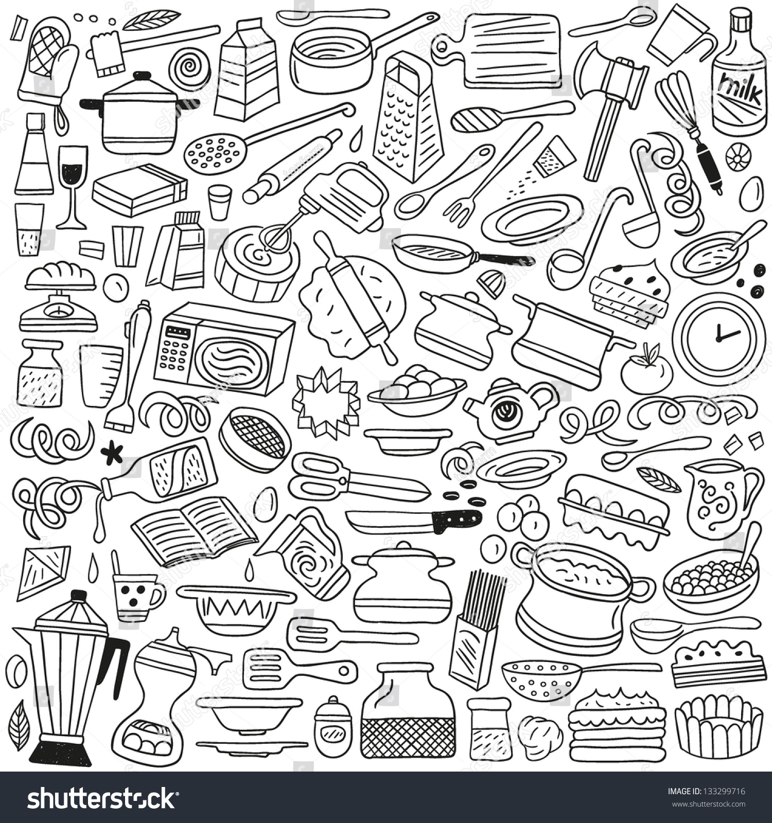 Kitchen tools drawing - Cookery Kitchen Tools Doodles