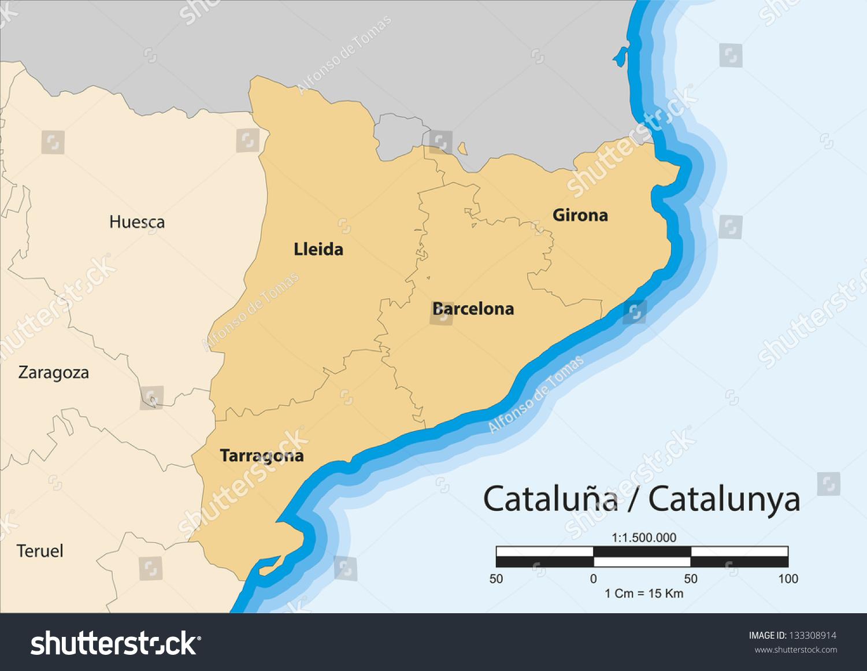Map autonomous community catalonia spain stock illustration map of the autonomous community of catalonia catalu gumiabroncs Image collections
