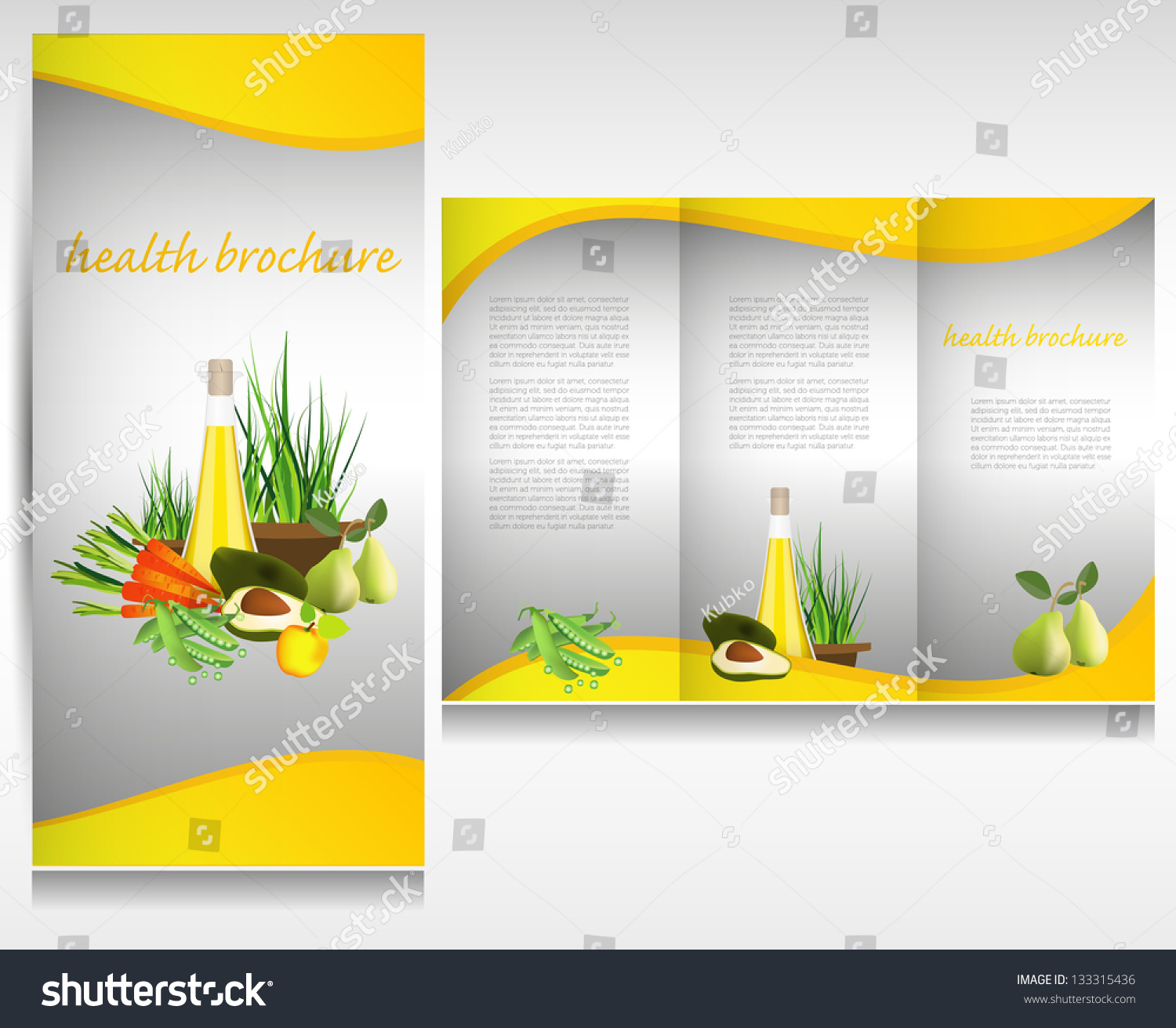 Health food brochure design bio vegetable stock vector