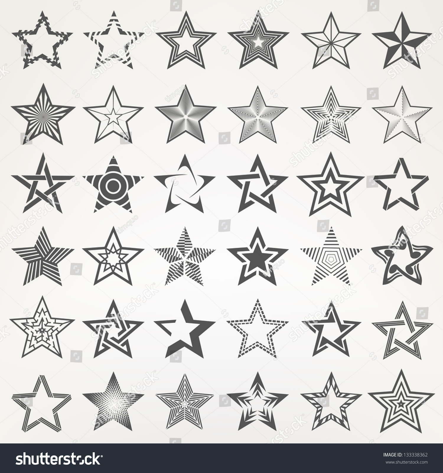 Elements Of Design Point : Pentagonal five point star collection thirty stock vector