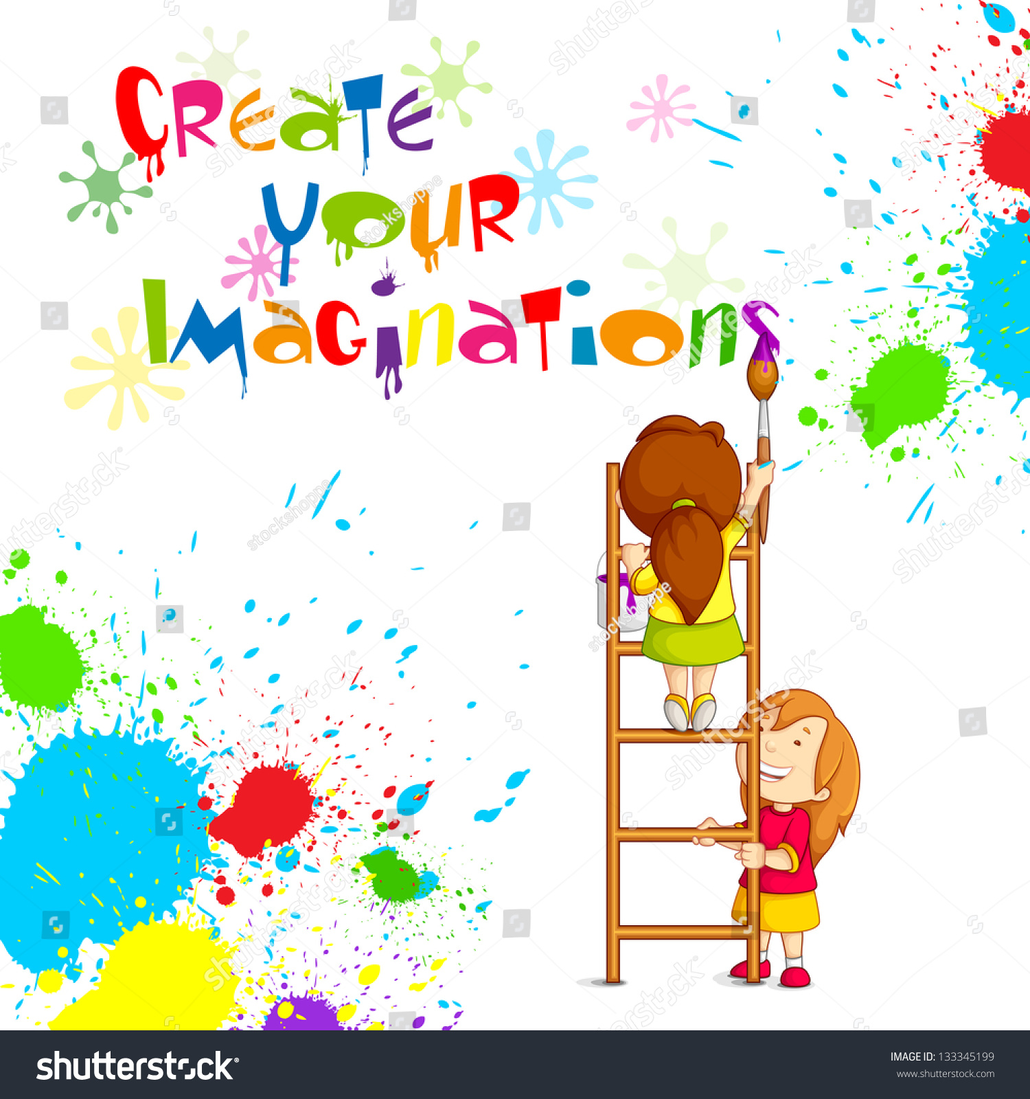vector illustration kids painting competition poster stock vector