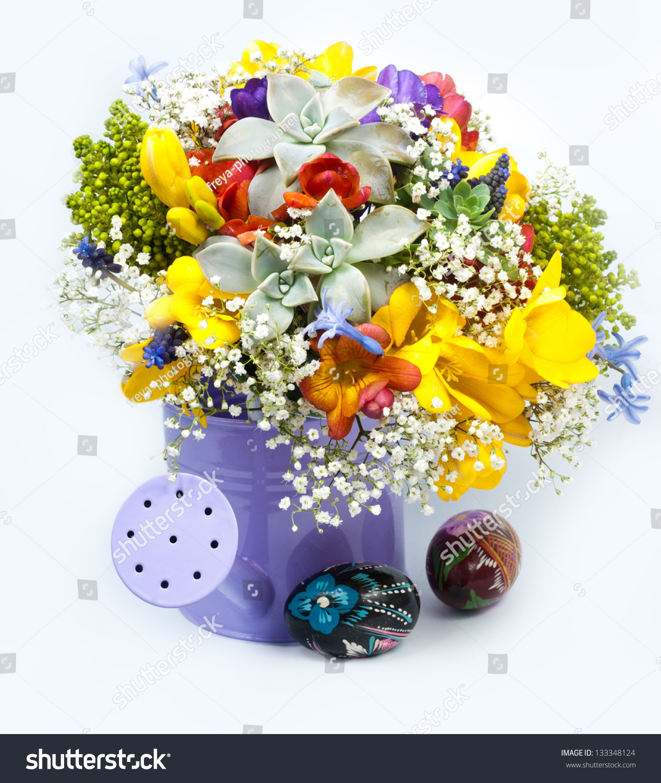 Spring Easter Flowers Painting Eggs Stock Photo 133348124 Shutterstock