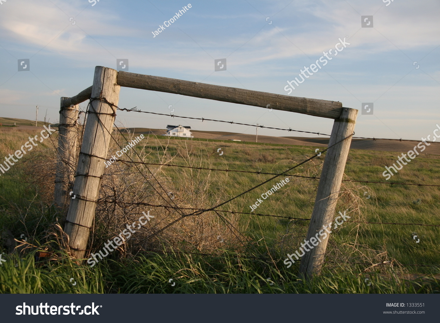 Barbed Wire Fence Corner Posts Framing Stock Photo (Edit Now ...
