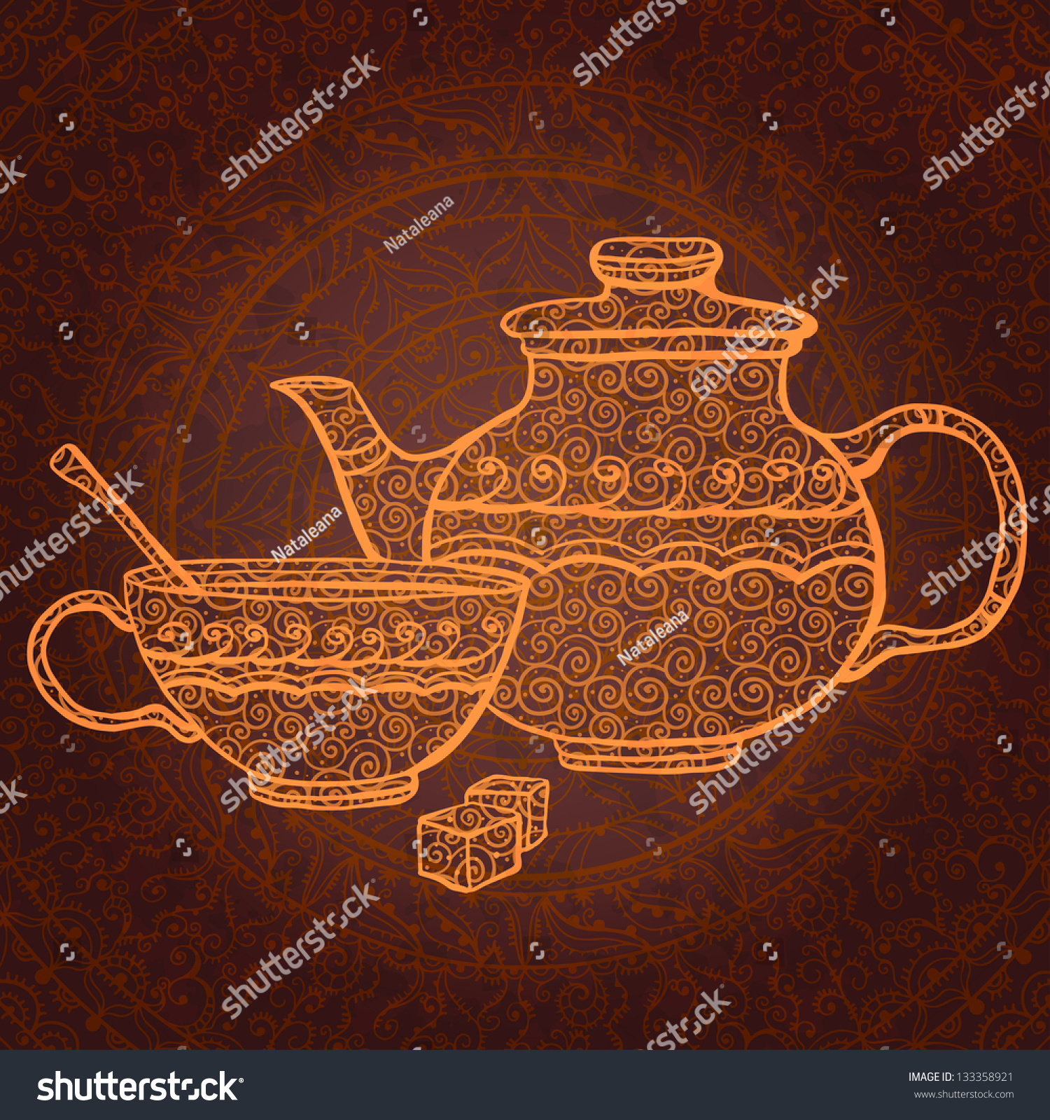 Vintage Background With Teapot, Cup And Sugar - Vector ...