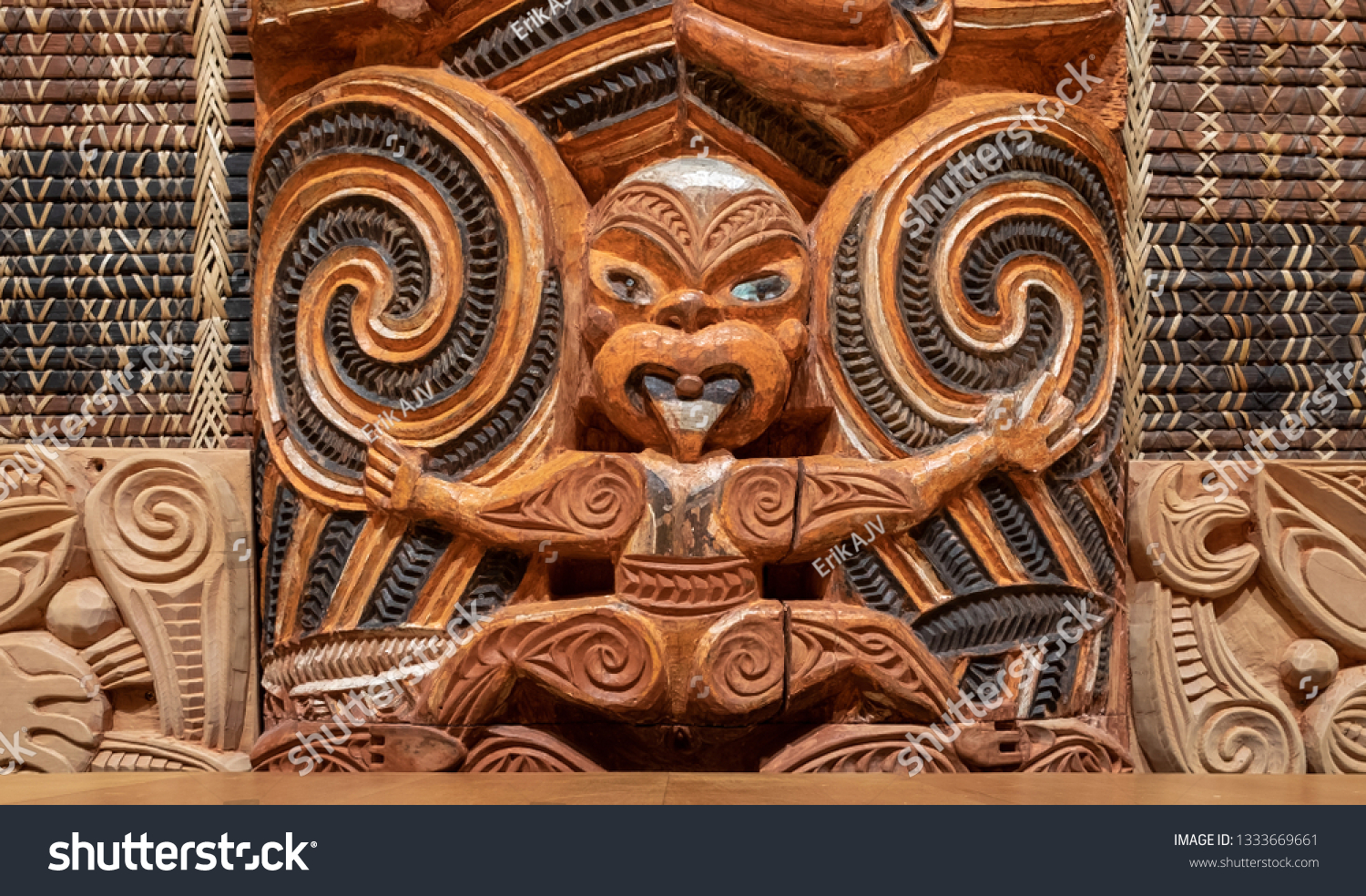 stock photo maori carving in new zealand