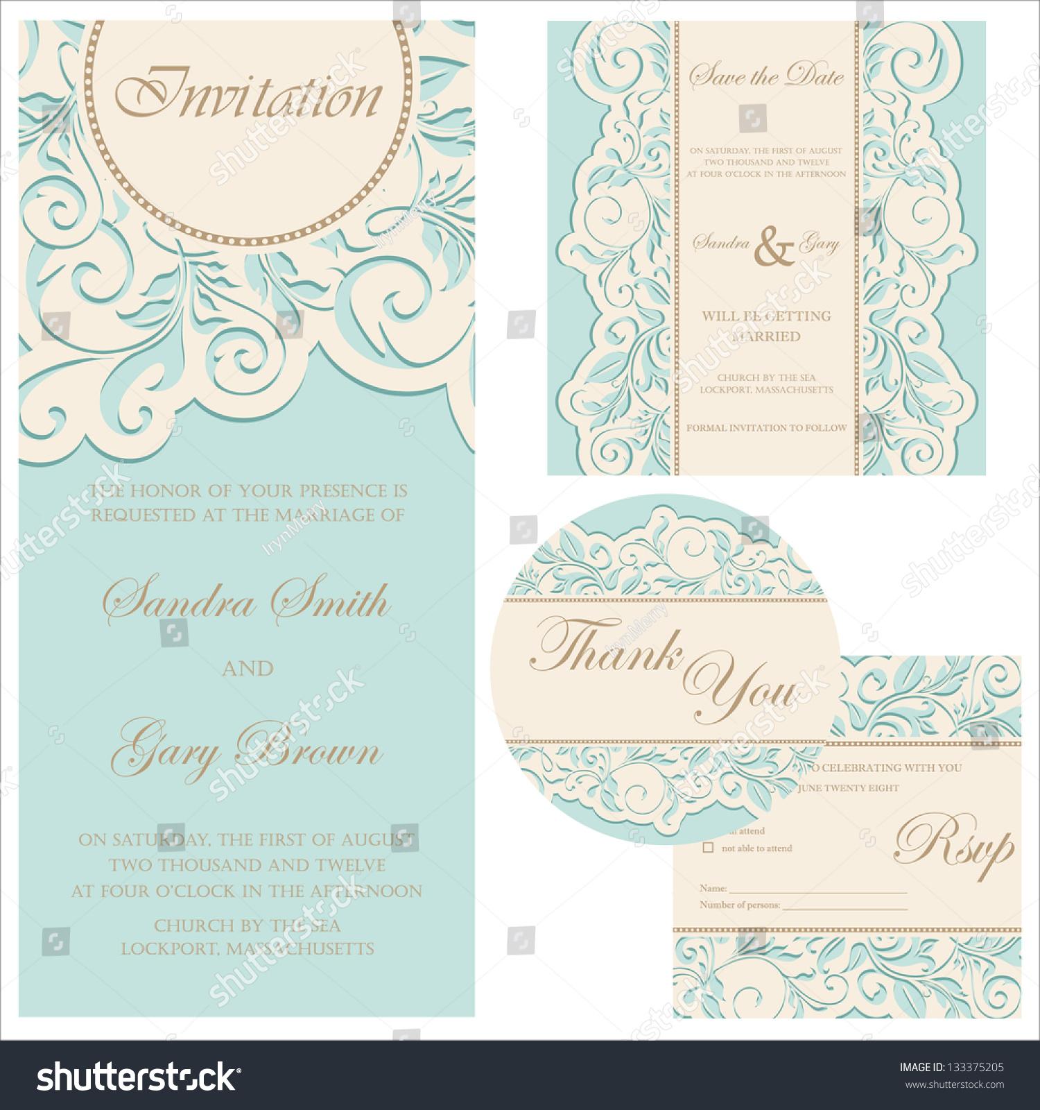 Set Wedding Cards Invitation Thank You Vector 133375205 – Wedding Stationery Thank You Cards