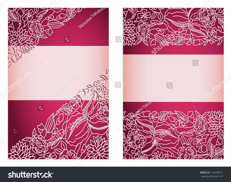invitation card back front sides wedding stock vector, invitation samples