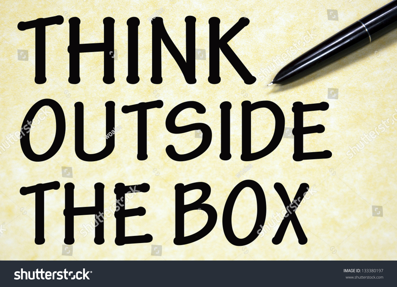 think outside box title written pen stock photo 133380197 shutterstock. Black Bedroom Furniture Sets. Home Design Ideas