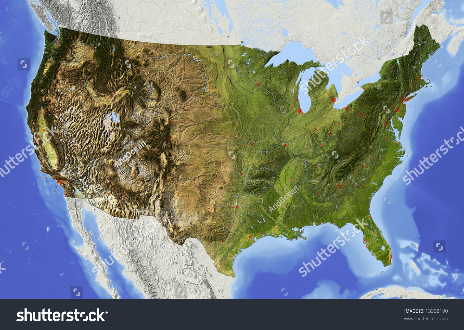 Usa Shaded Relief Map Conterminous Usa Stock Illustration - 3d us map elevation