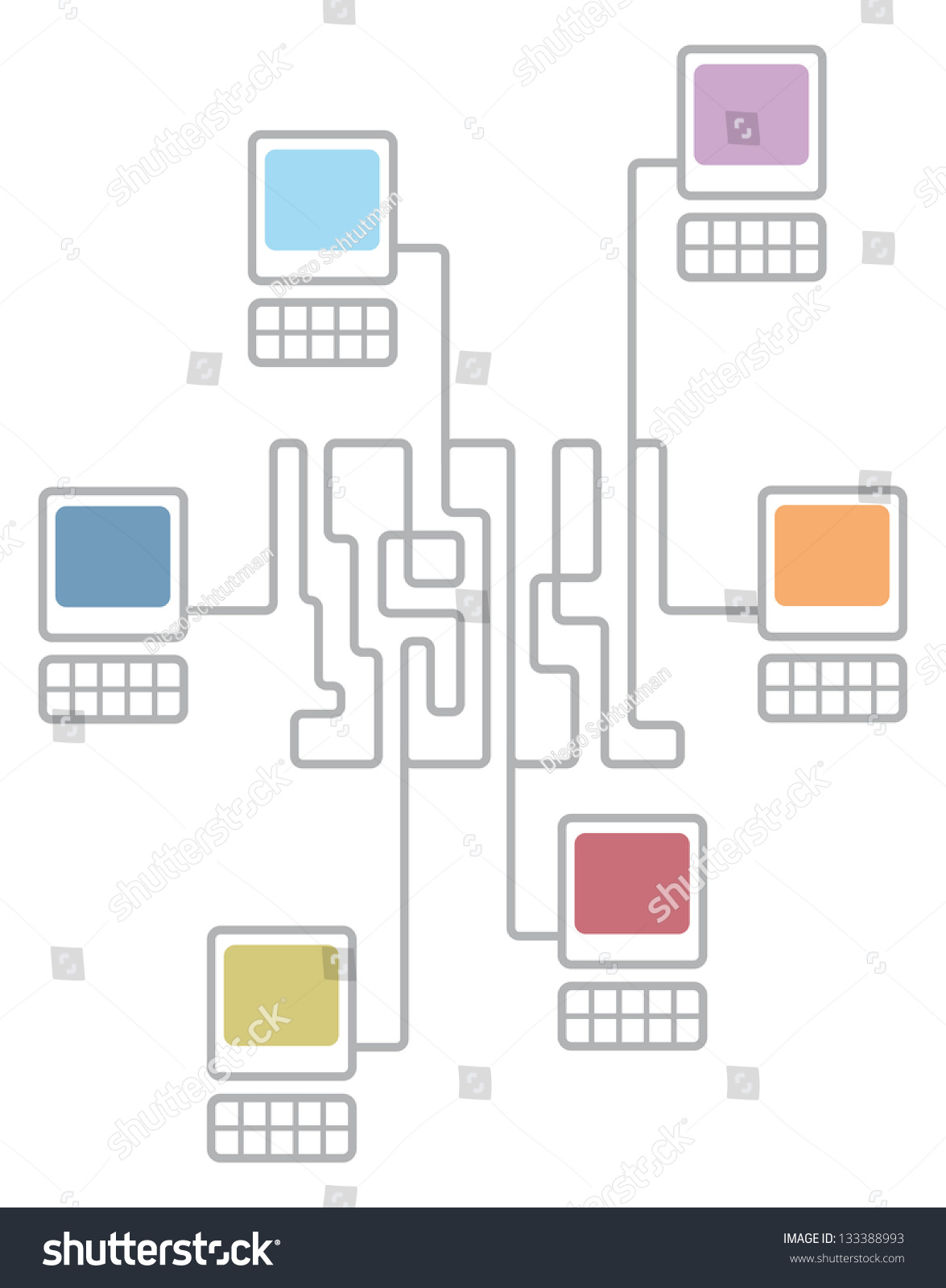 stock vector complex computer network connecting diagram 133388993 complex computer network connecting diagram stock vector 133388993 computer connection diagram at highcare.asia