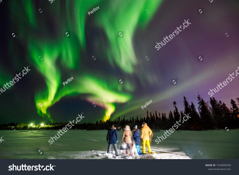 Company Friends Tourist Looks Northern Lights Stock Photo