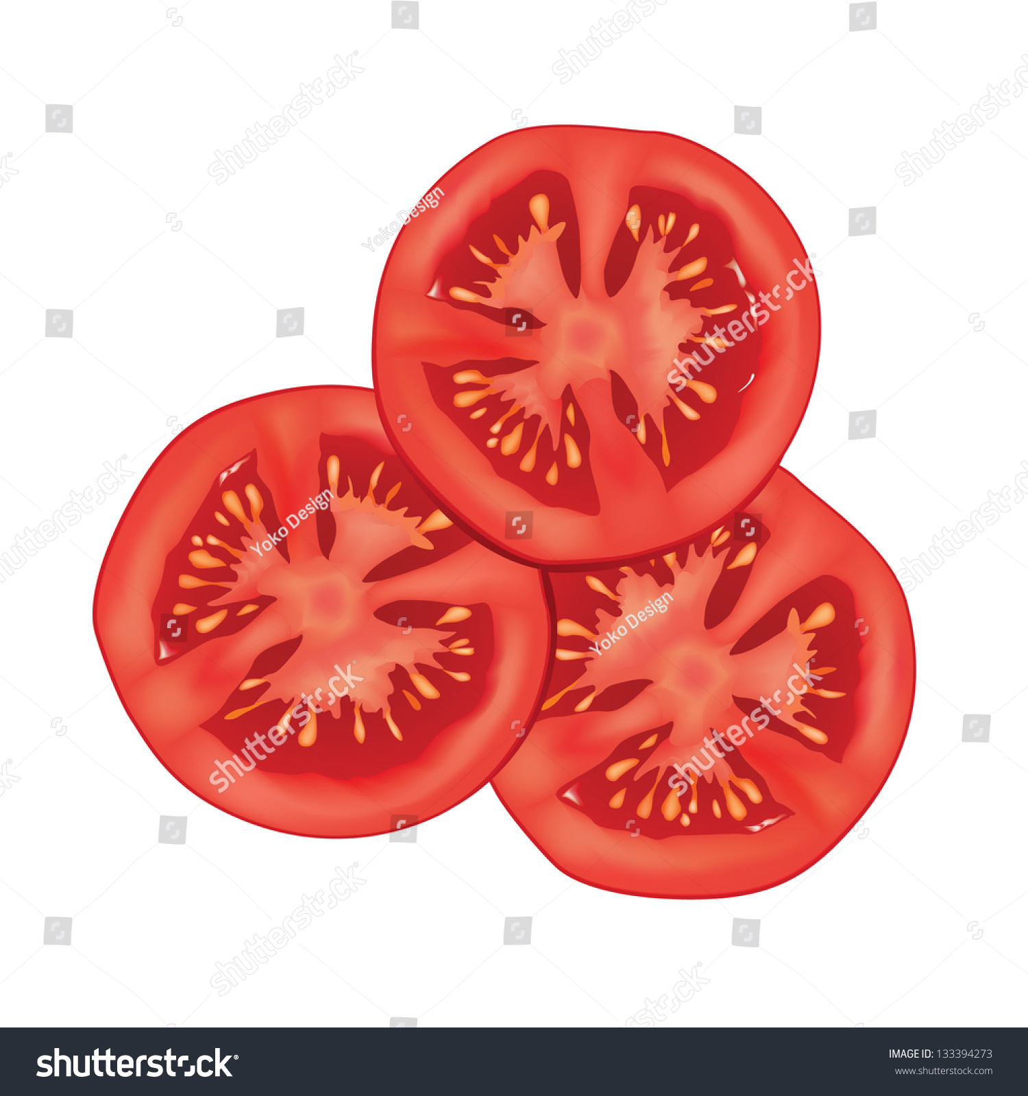 Tomato Slice Drawing t...