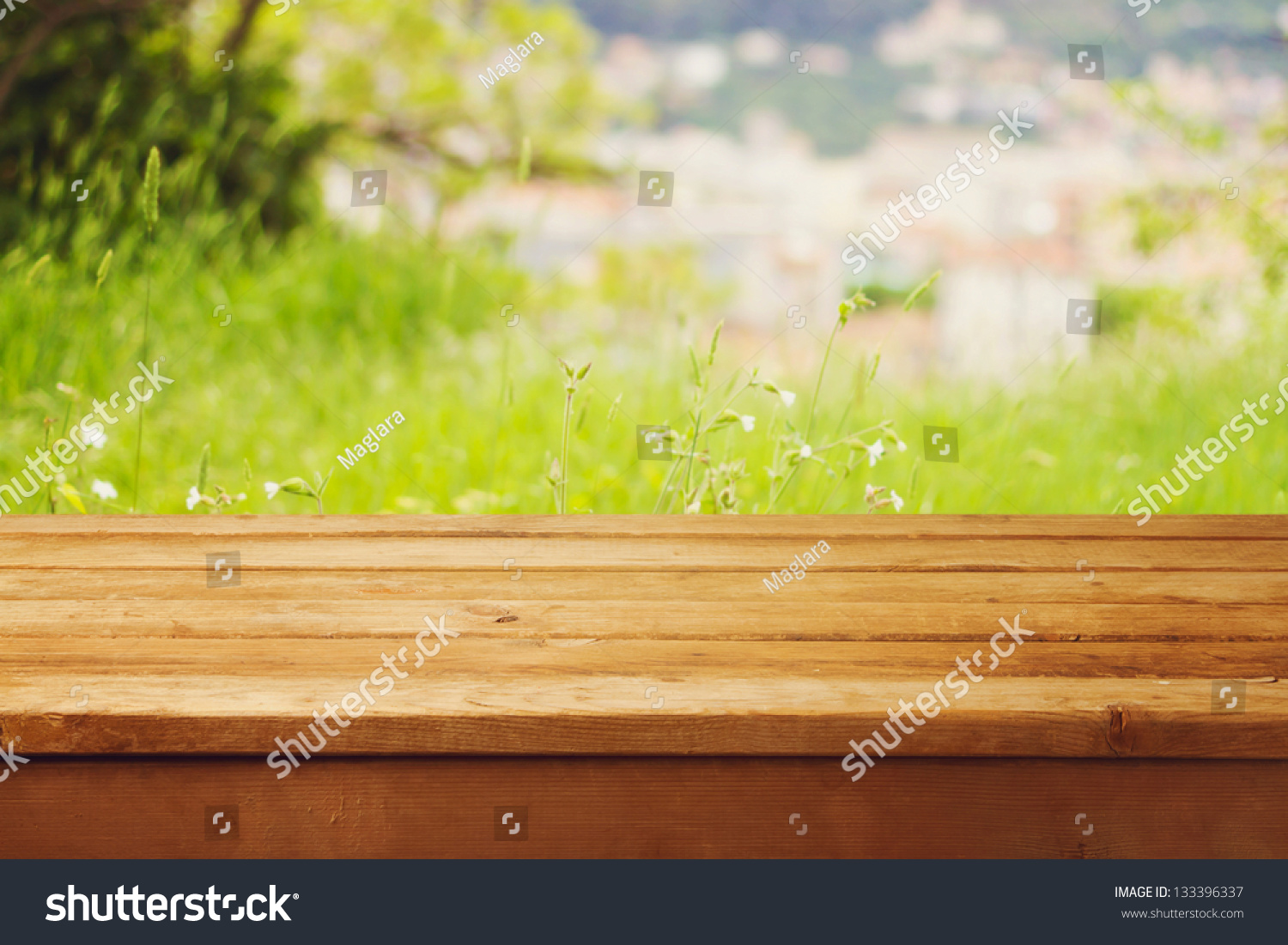 Empty Wooden Table Over Bokeh Natural Stock Photo