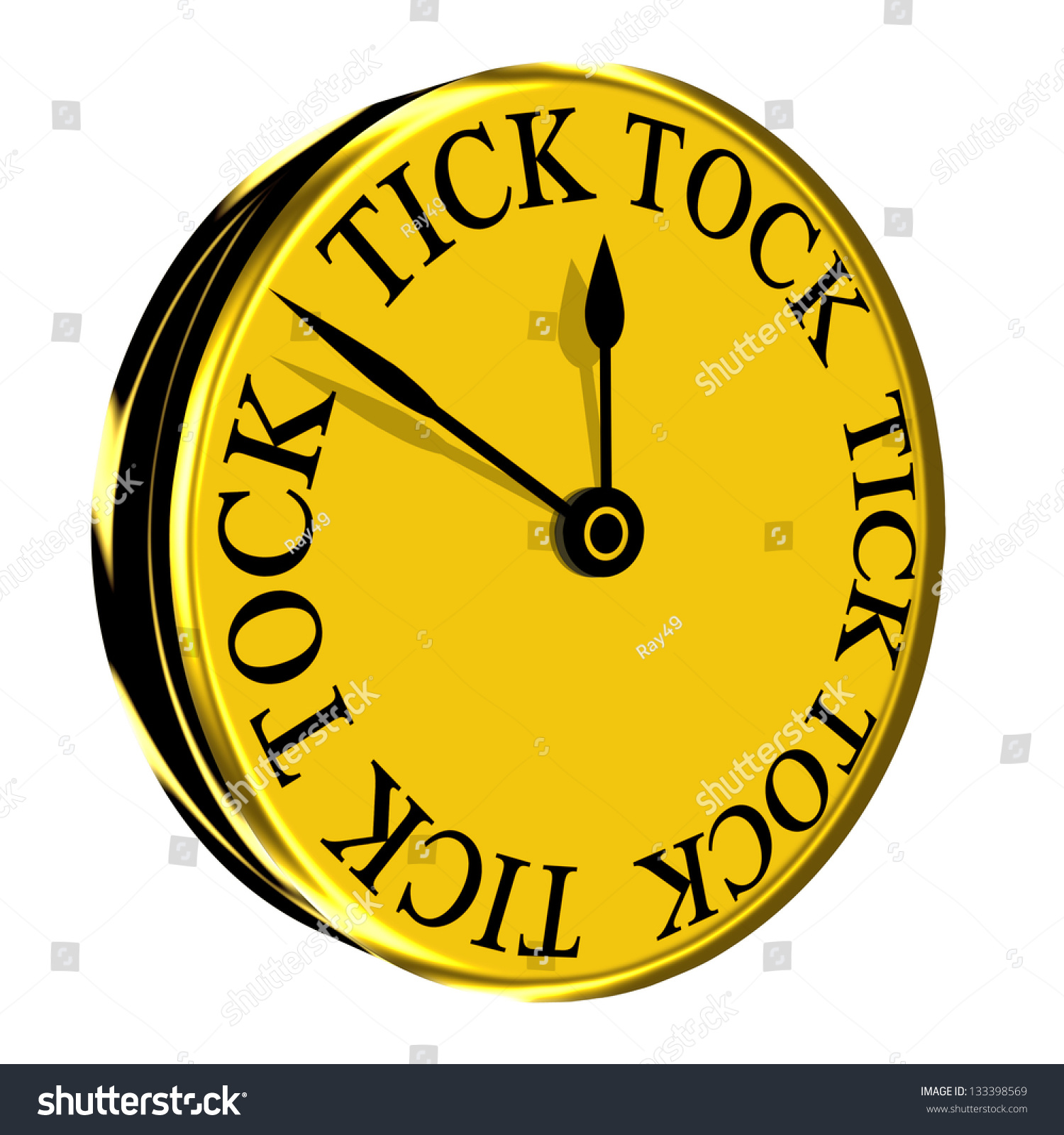 Gold Colored Wall Clock Modern Tick Stock Illustration 133398569 ...