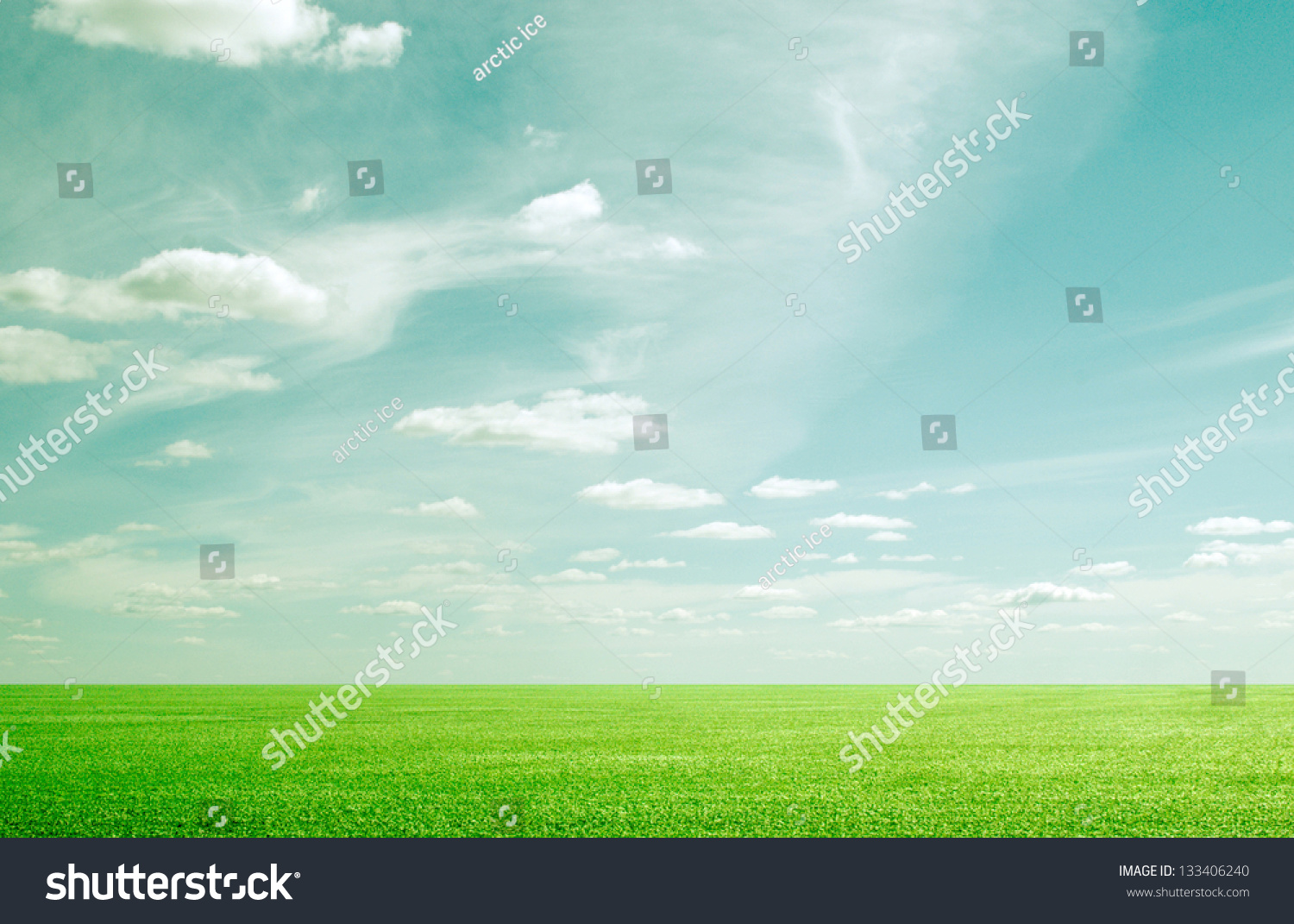 Grunge Beauty Blue Sky And Green Grass Stock Photo ...