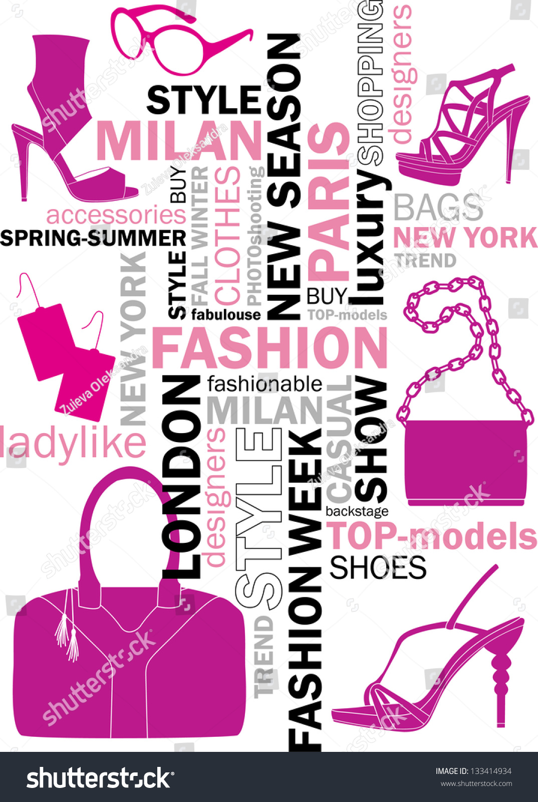 Fashion Words Tag Word Cloud Stock Vector 133414934 Shutterstock