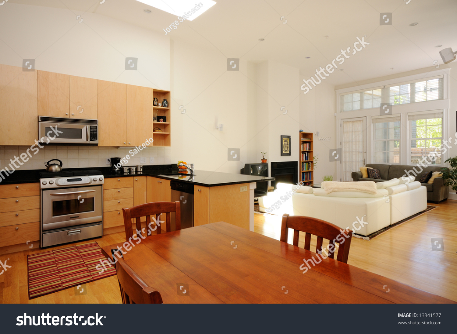 Modern Kitchen Living Room Modern Dining Room Kitchen Living Room Stock Photo 13341577