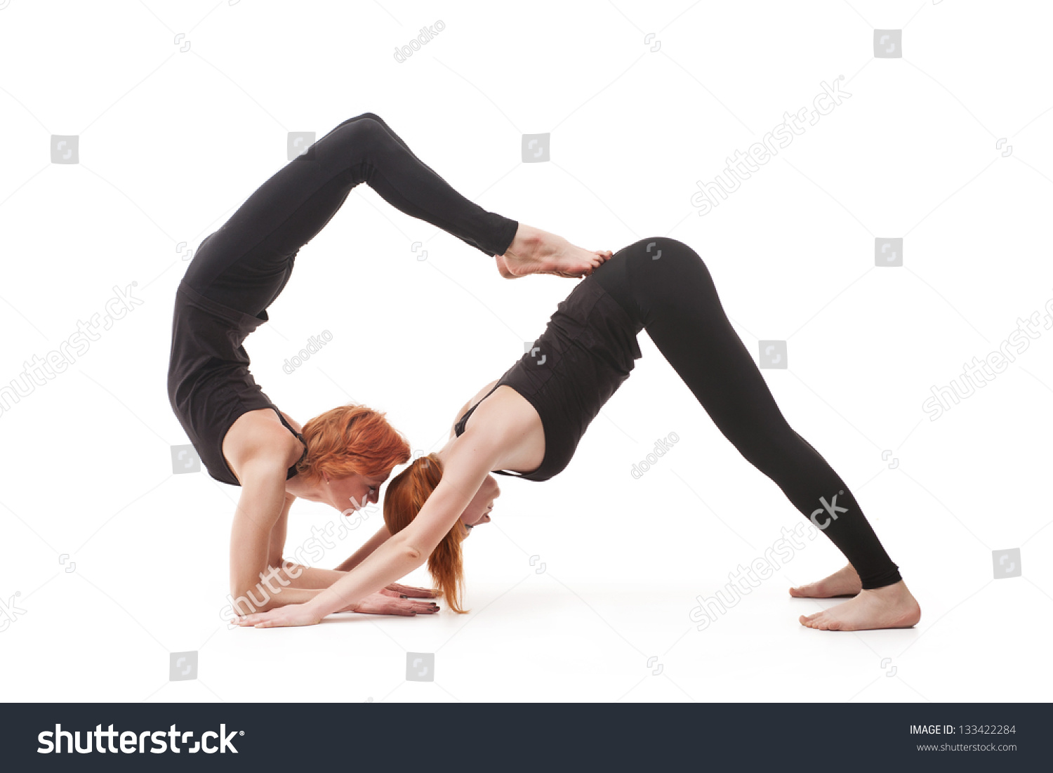 Paired Yoga Two Women Practicing Yoga Stock Photo ...