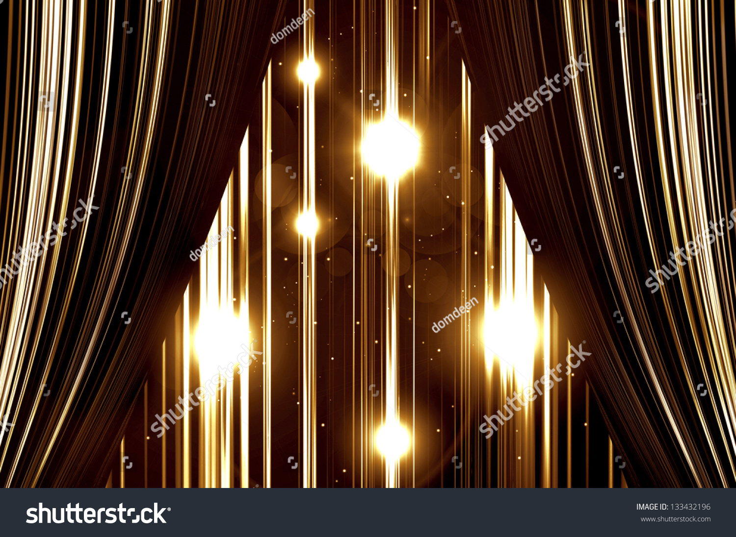 Stage curtains spotlight - Gold Stage Curtain On Spotlight Background