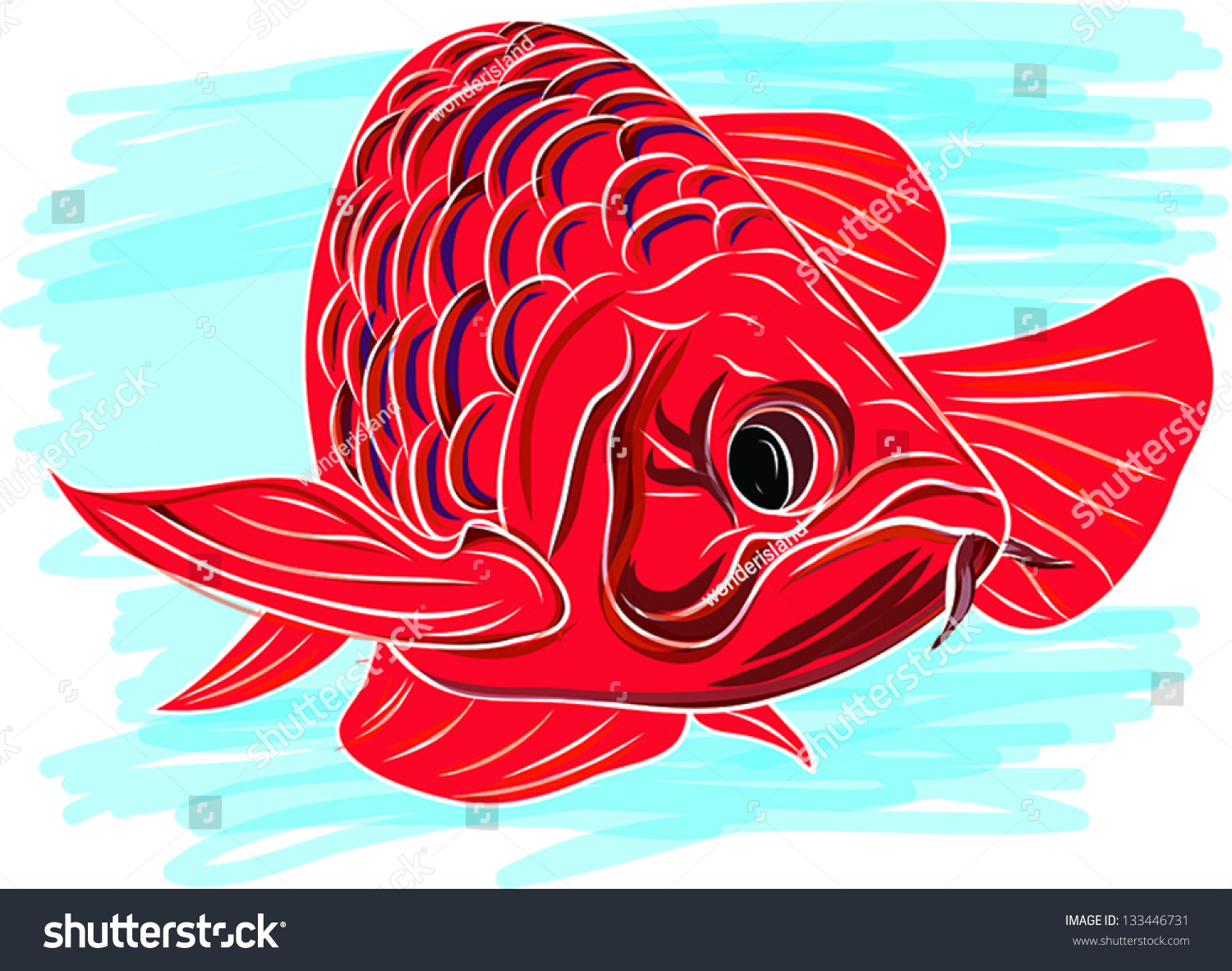 Arowana Fish Stock Vector 133446731 - Shutterstock