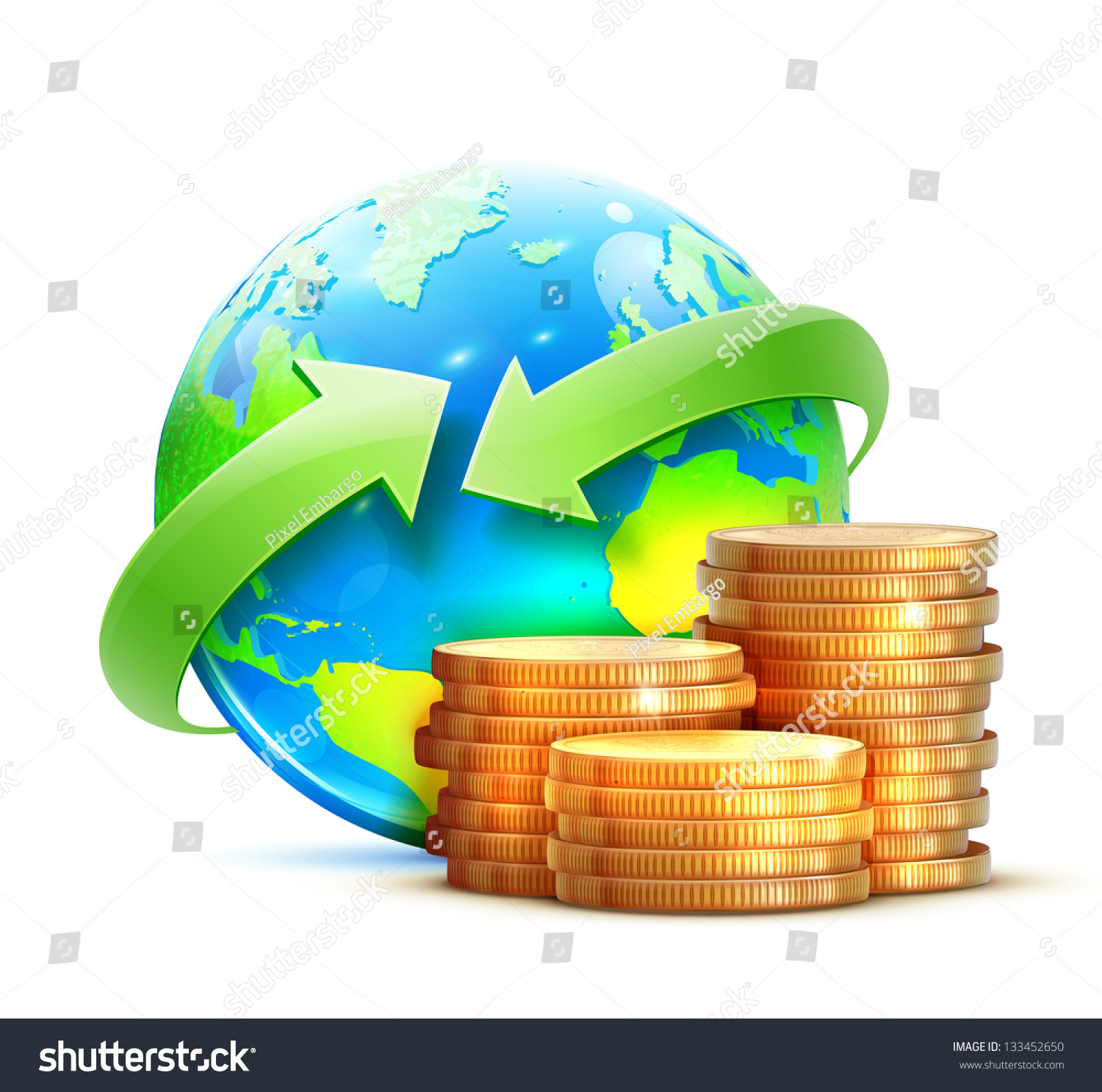 vector illustration global money transfer concept stock Globe Vector Graphics Globe Icon Clip Art