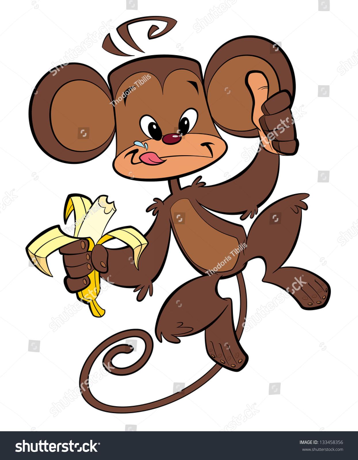 cartoon brown happy monkey eating banana stock illustration