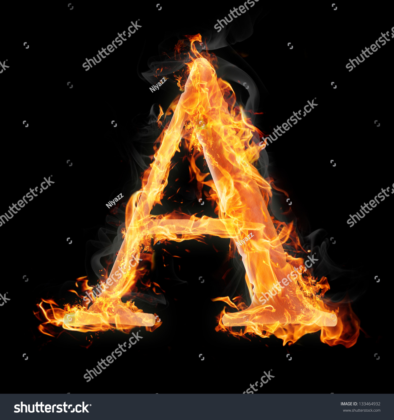 letters and symbols in fire letter a
