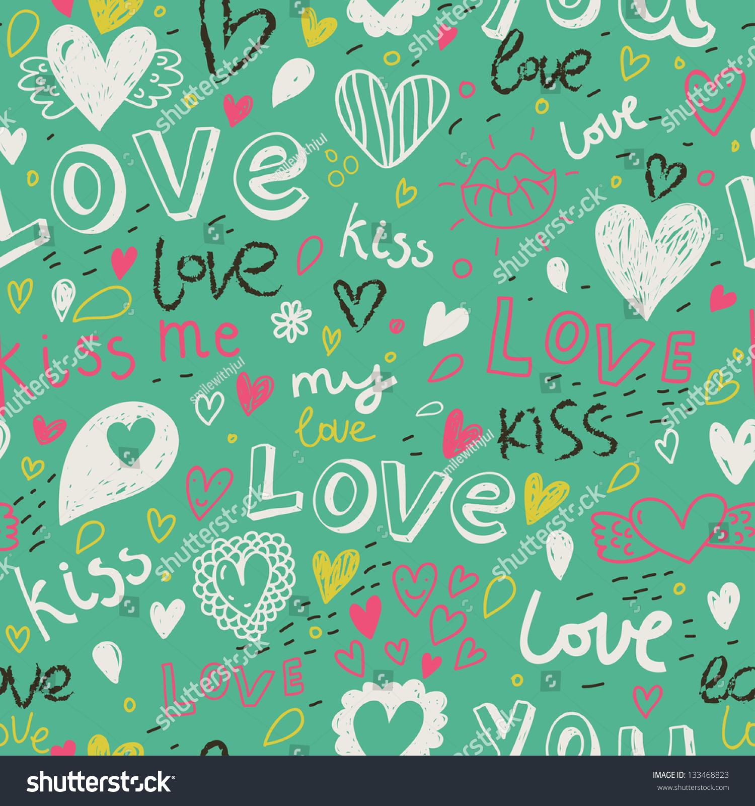 Romantic vector seamless background greeting card wallpaper vector art -  Vectors Illustrations Footage Music Romantic Seamless Pattern Love Concept Background Seamless Pattern Can Be Used For Wallpaper