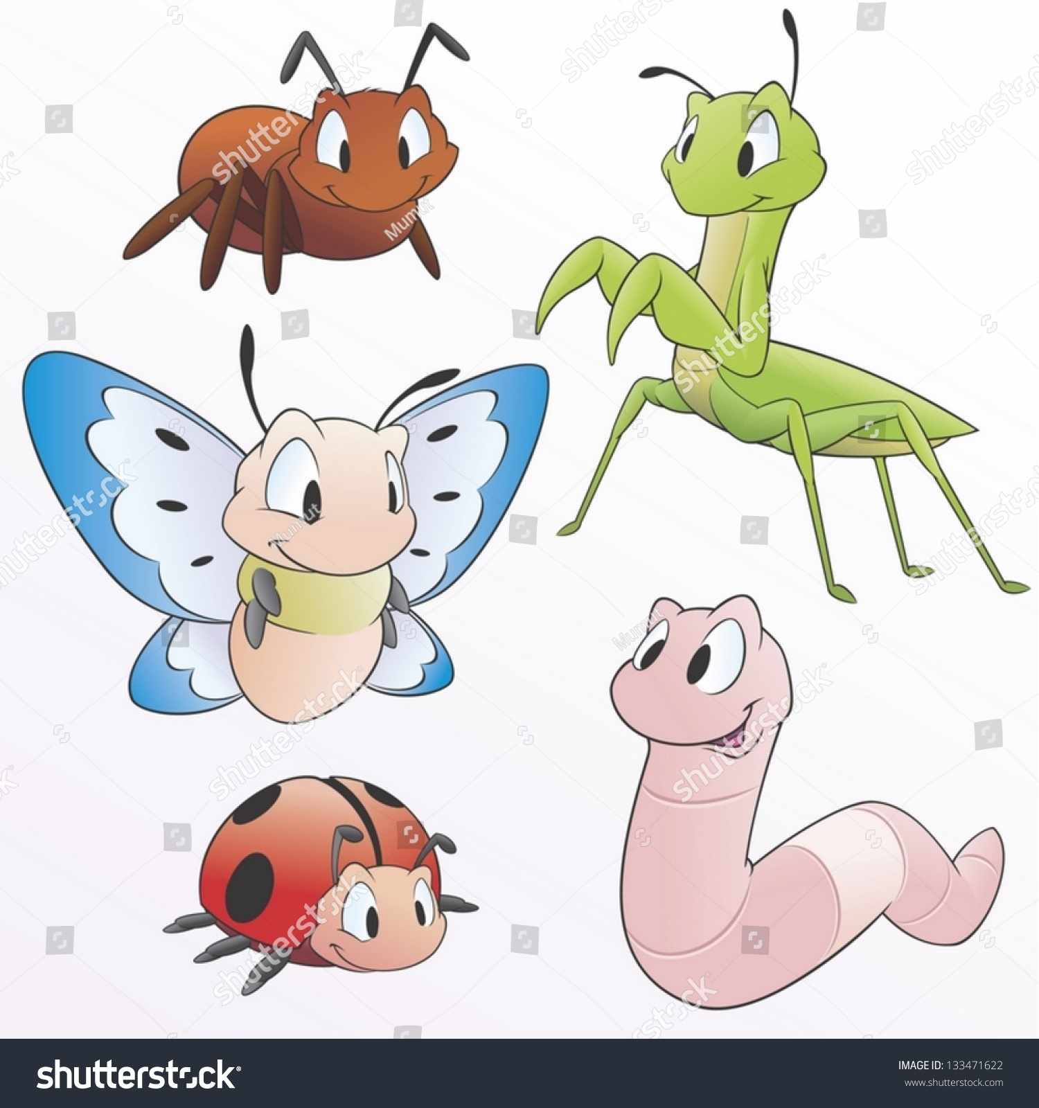 Vector Illustration Set Cartoon Garden Animals Stock Vector