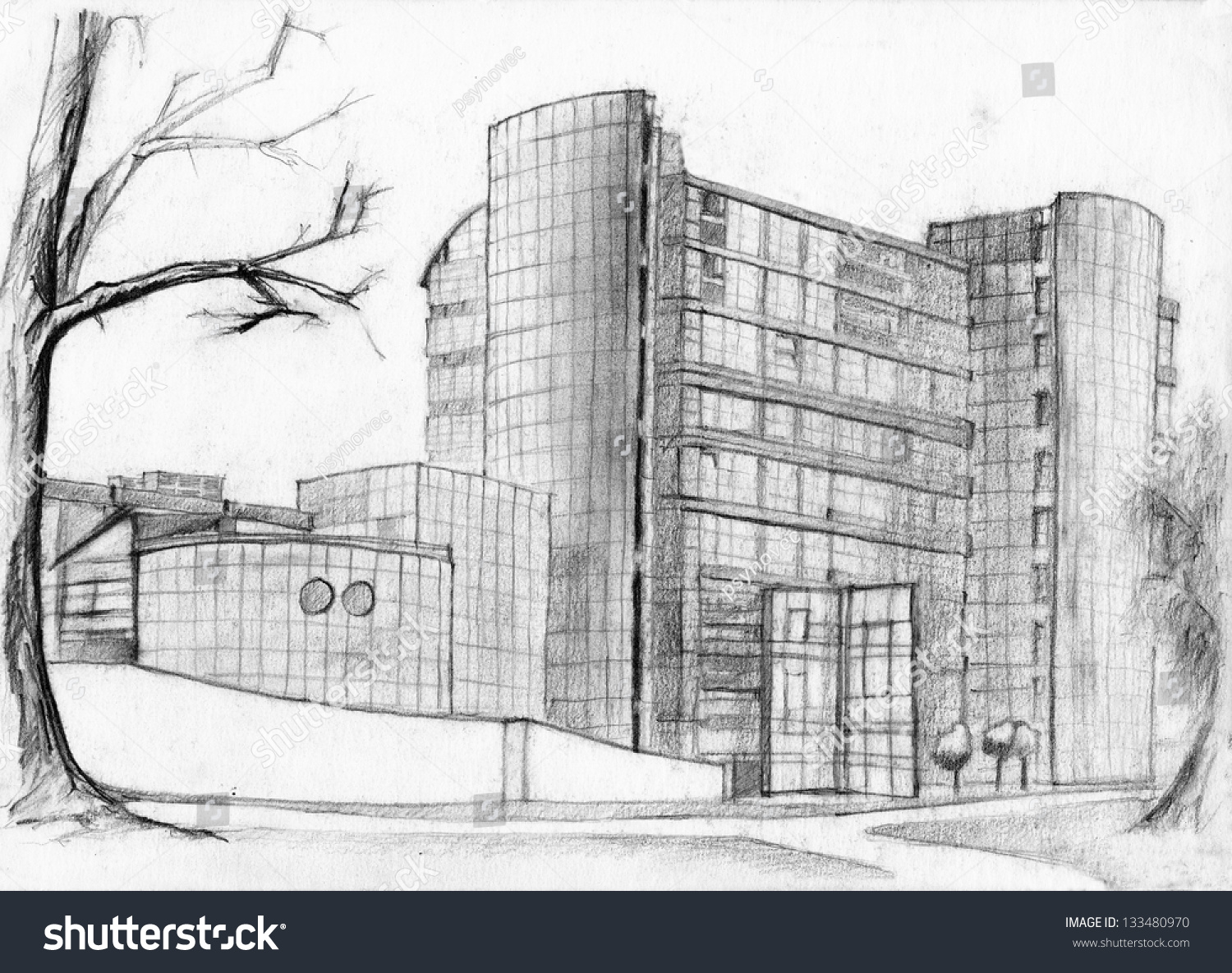 Modern Architecture Sketch architectural sketch modern bank building pencil stock