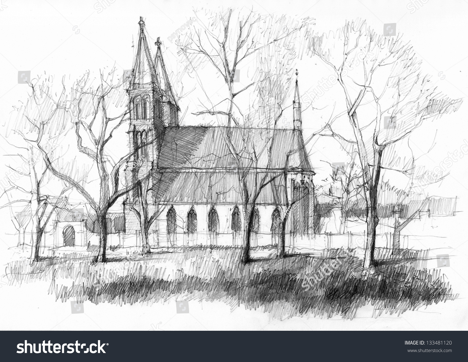 Vysehrad medieval castle in prague pencil drawing from the park
