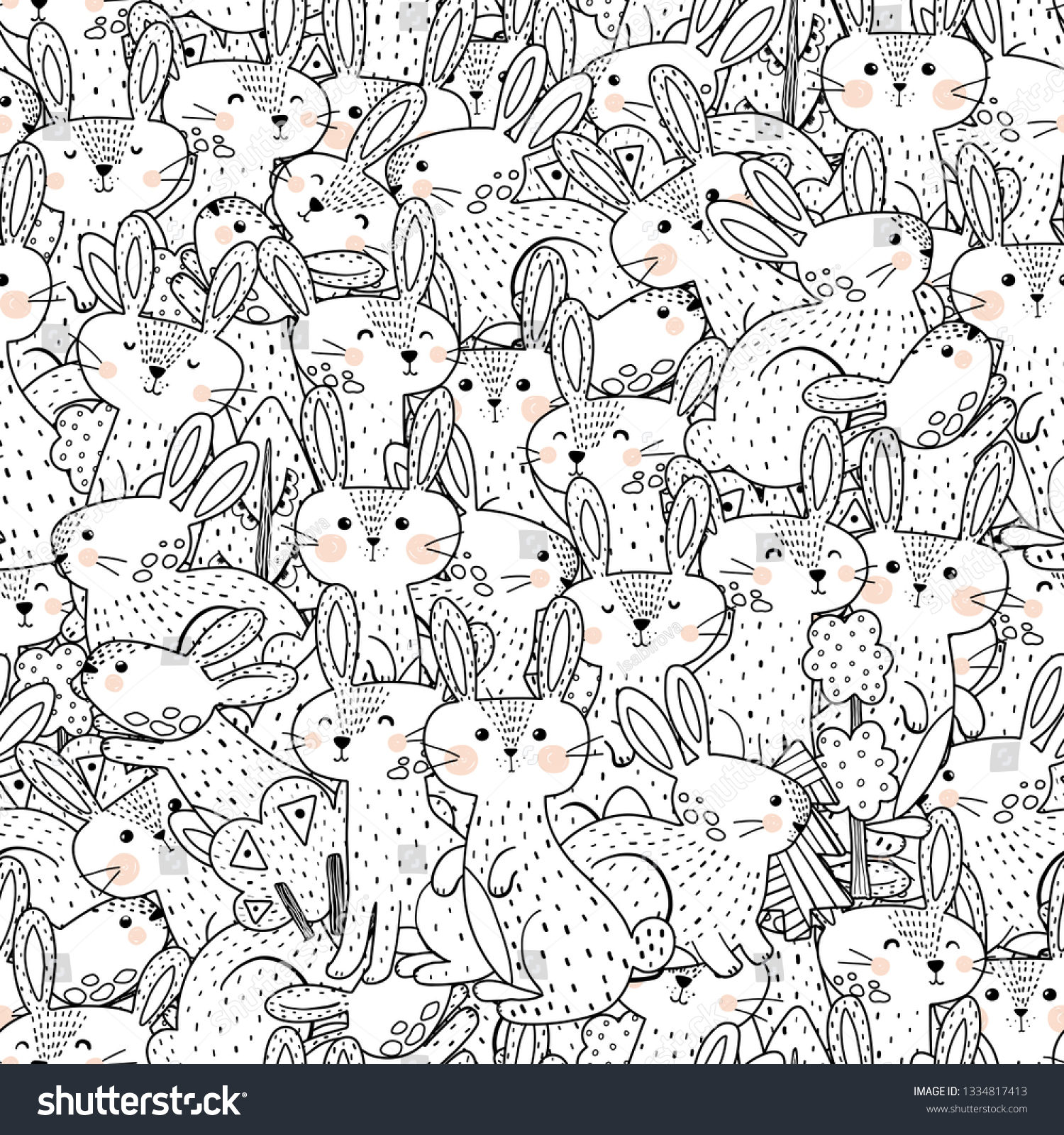 stock vector funny rabbits black and white seamless pattern great for coloring page prints backgrounds