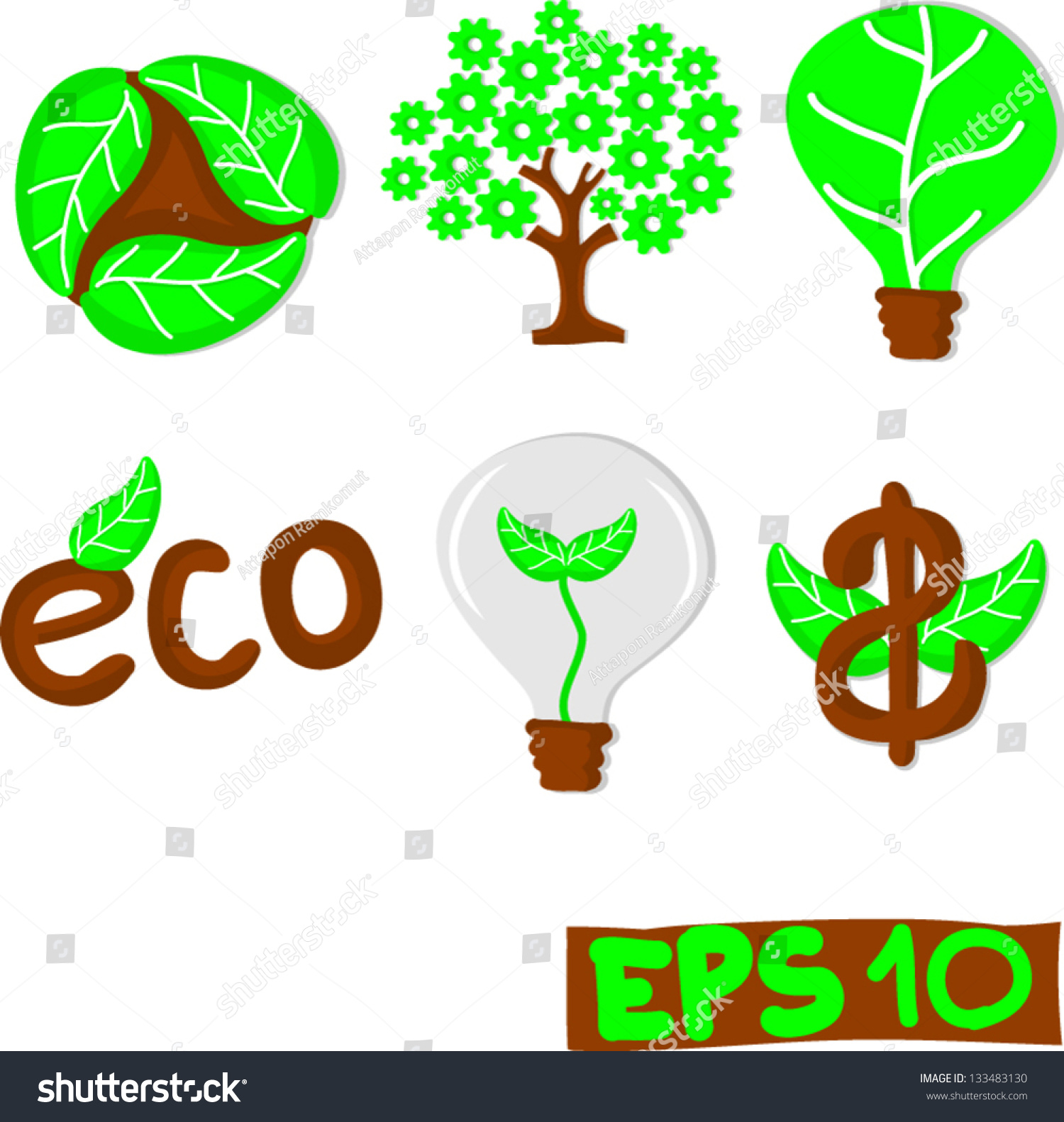 collection of green eco concept set 1 stock vector. Black Bedroom Furniture Sets. Home Design Ideas