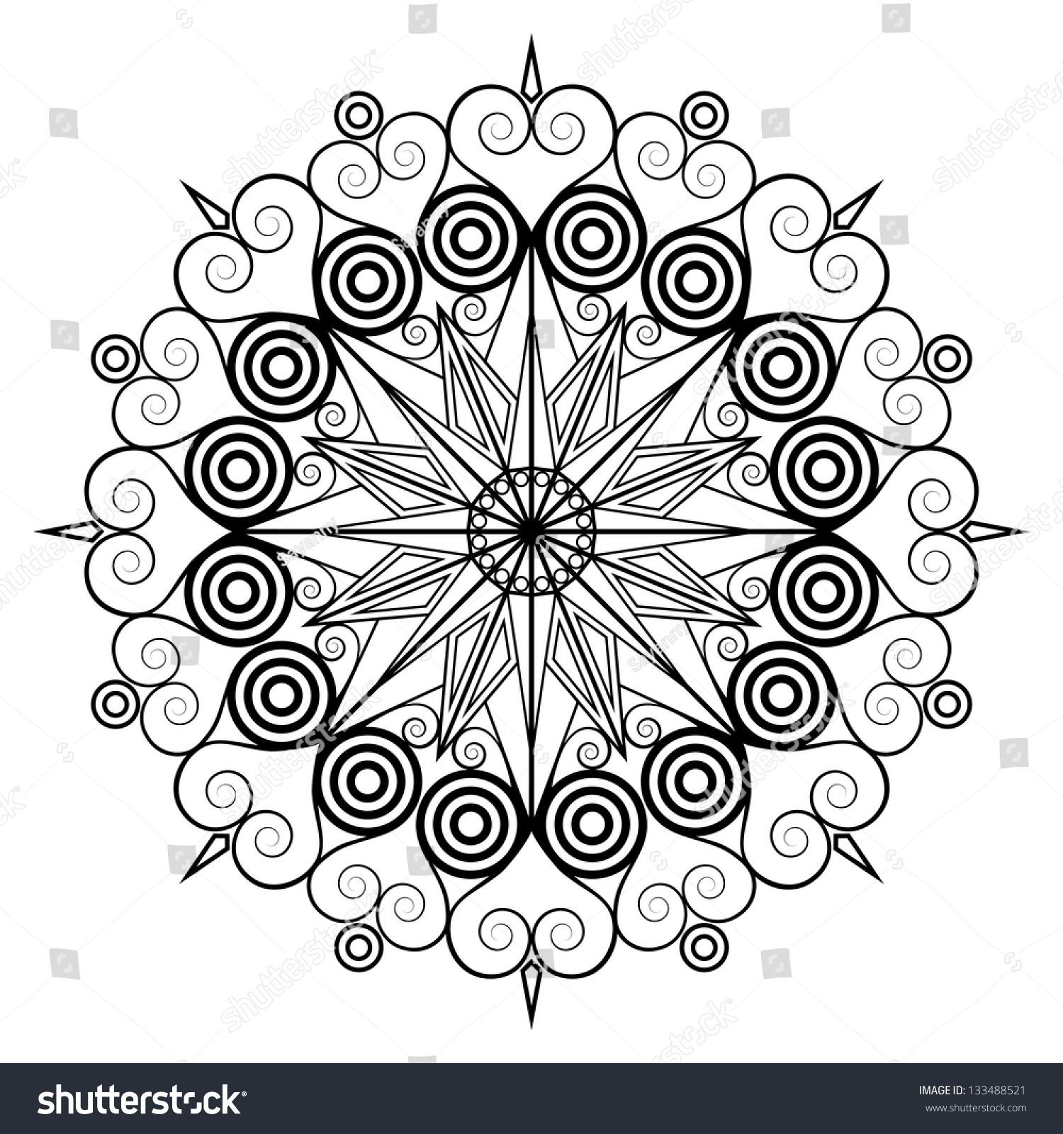 Round Arabesque Pattern Element For Design