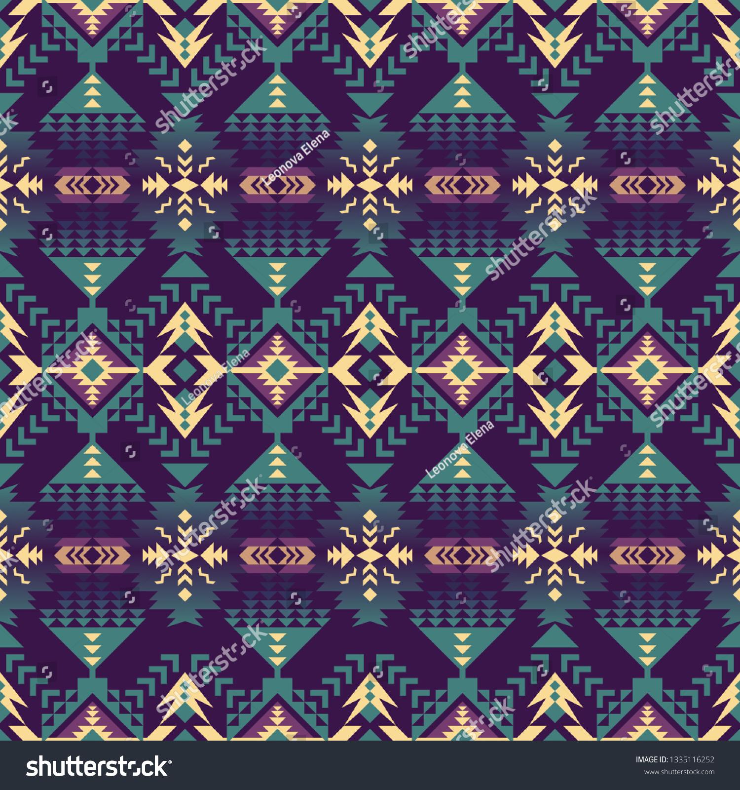 Aztec Geometric Seamless Pattern Native American Stock Vector