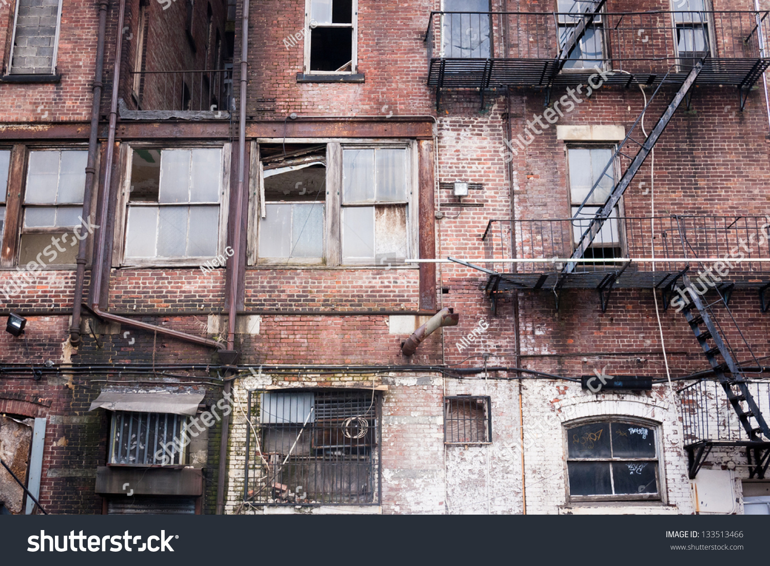 Brick Apartment Building back side abandoned brick apartment building stock photo 133513466