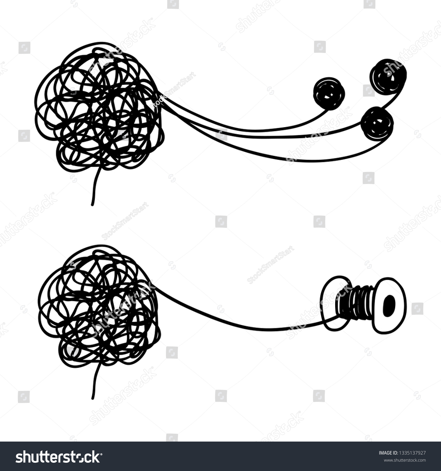 Tangled and untangled brain metaphor psychotherapy results vector concept illustration of untangle psychotherapy