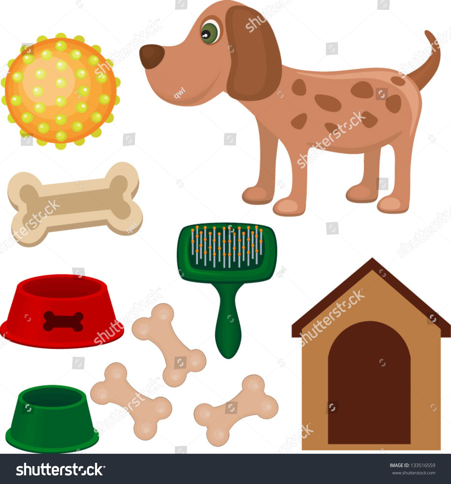 Toy Food Clip Art : Illustration of dog dogs food toy brush and kennel
