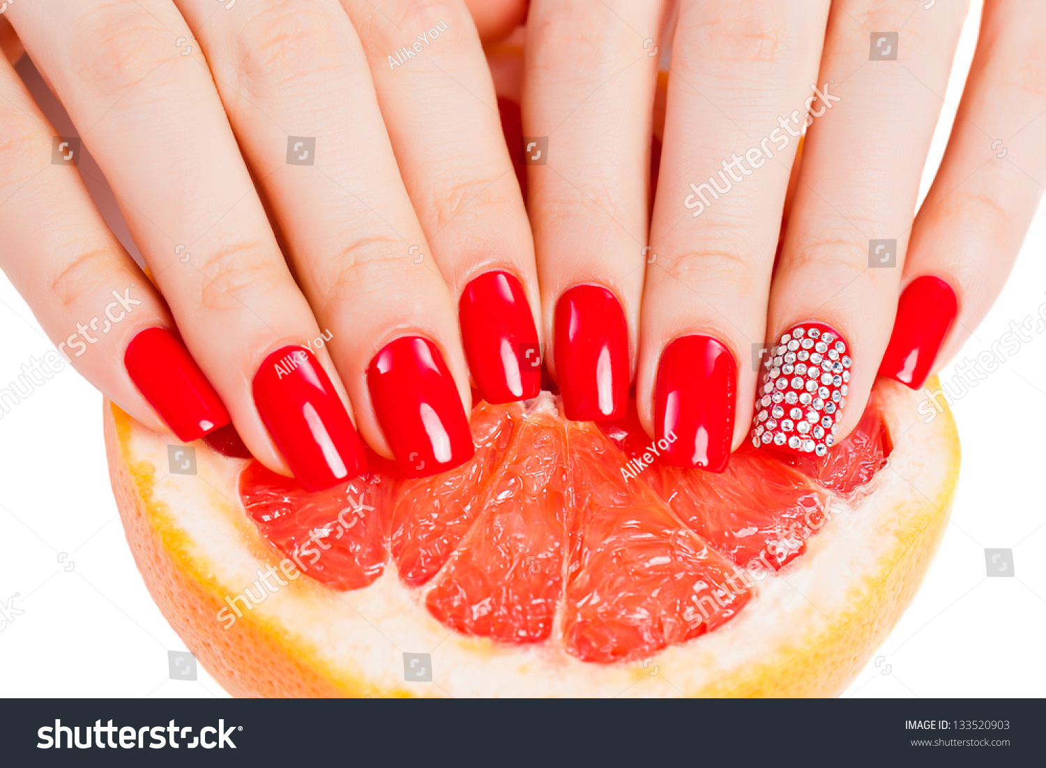 Girl Bright Red Nail Polish On Stock Photo 133520903 - Shutterstock